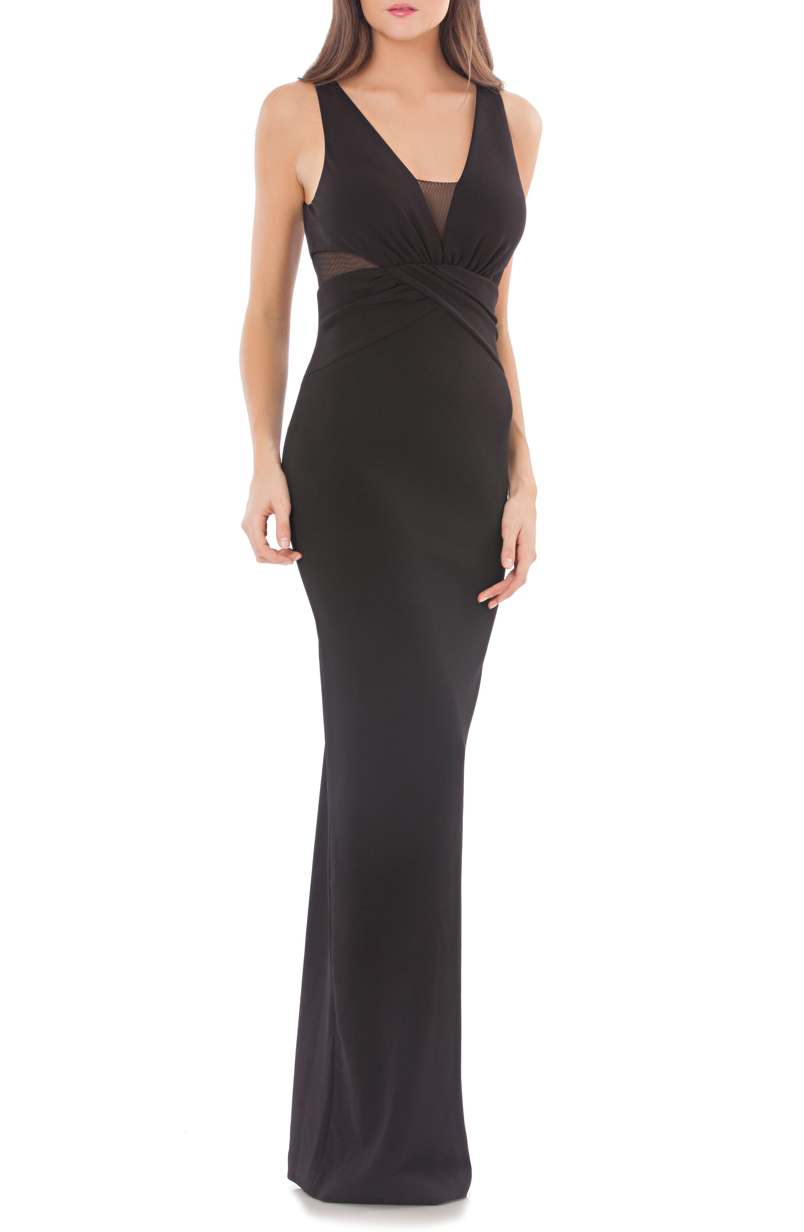 Cross Front Stretch Crepe Column Gown,                             Main thumbnail 1, color,                             001