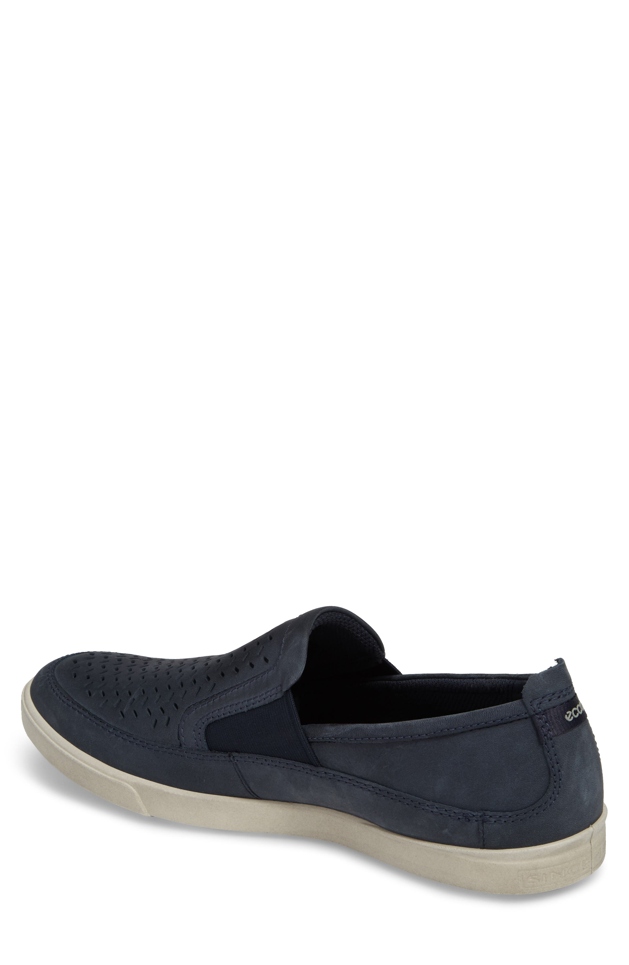 'Collin' Perforated Slip On Sneaker,                             Alternate thumbnail 2, color,                             MARINE LEATHER