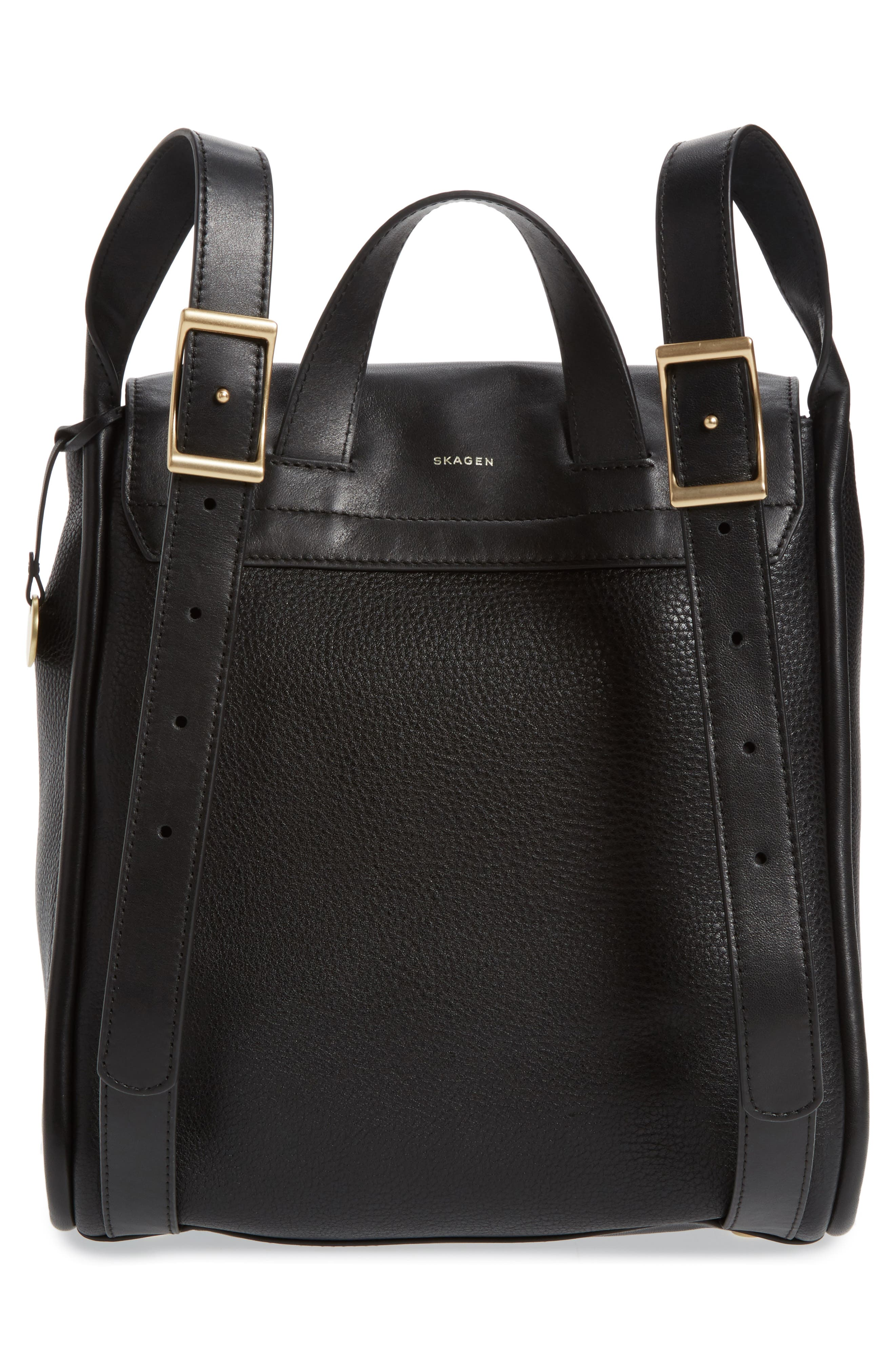 Ebba Leather Backpack,                             Alternate thumbnail 3, color,                             001