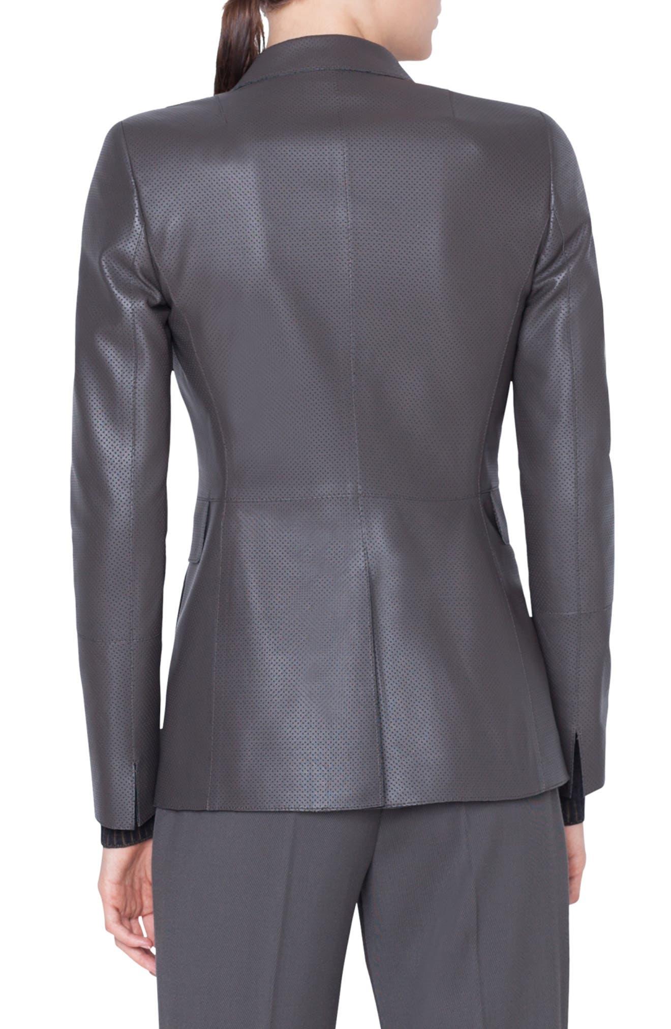 AKRIS PUNTO,                             Perforated Leather Blazer,                             Alternate thumbnail 2, color,                             OLIVA