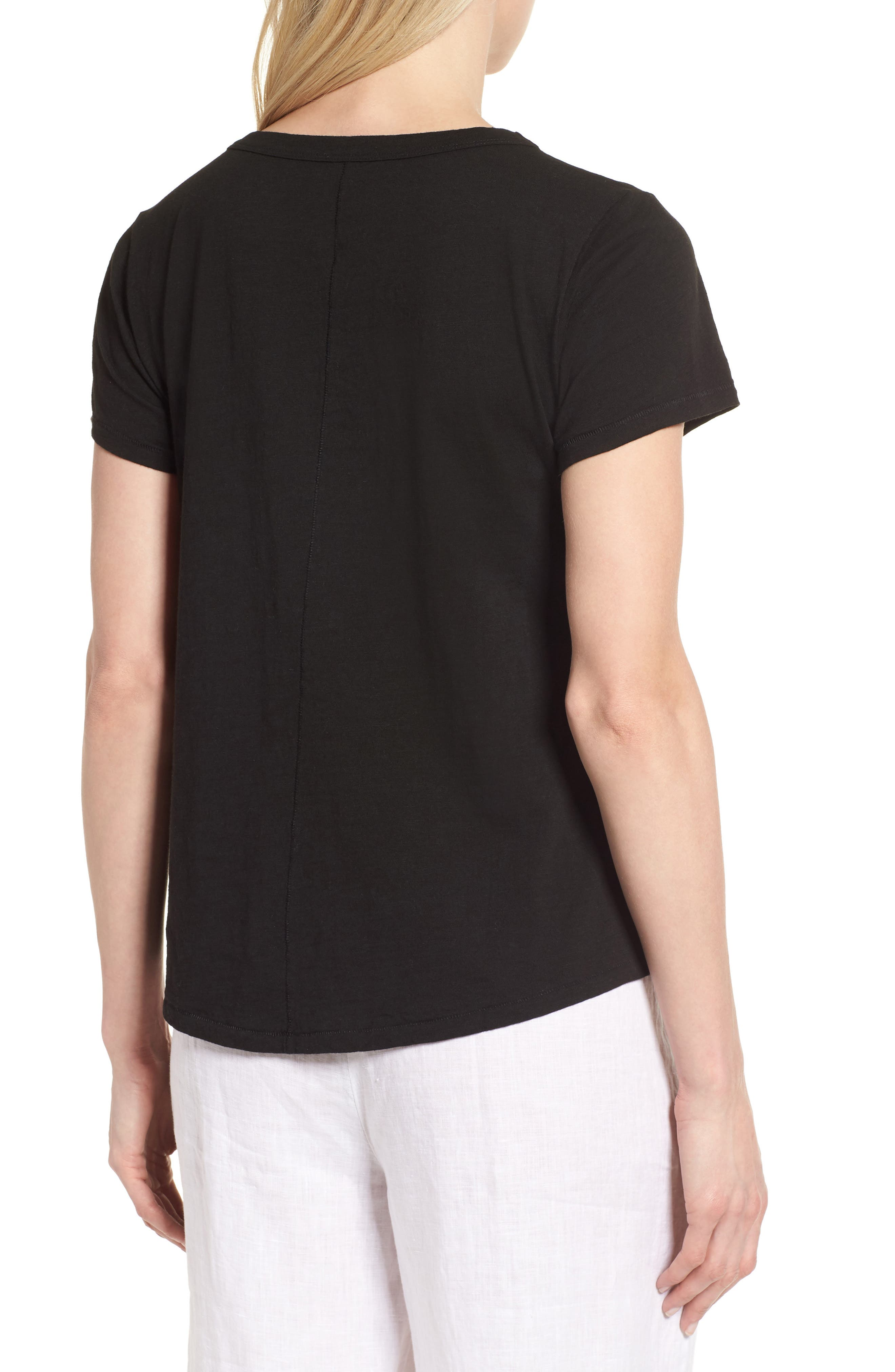 V-Neck Organic Cotton Tee,                             Alternate thumbnail 2, color,                             001