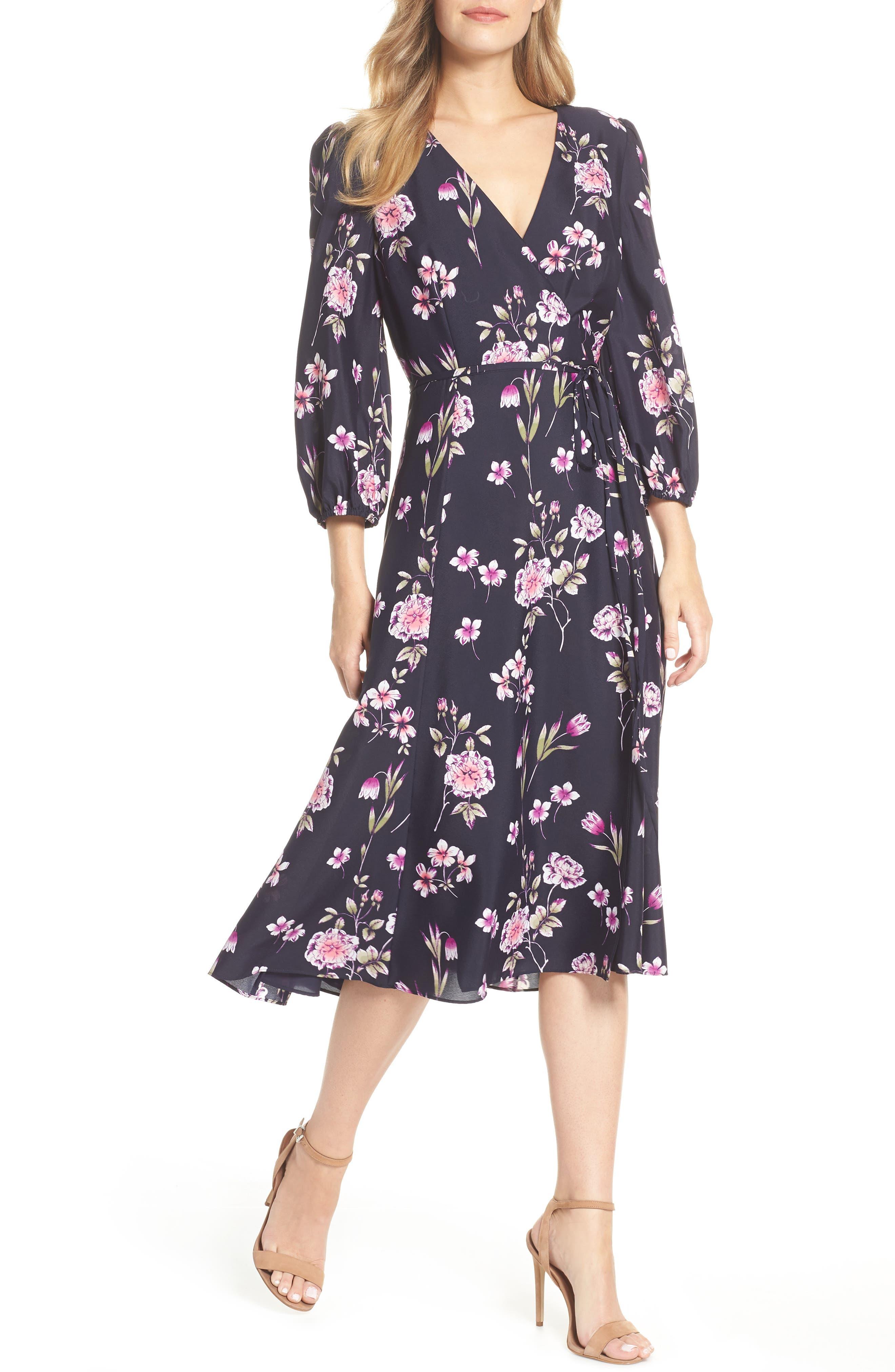 Floral Print Wrap Dress,                             Main thumbnail 1, color,                             NAVY