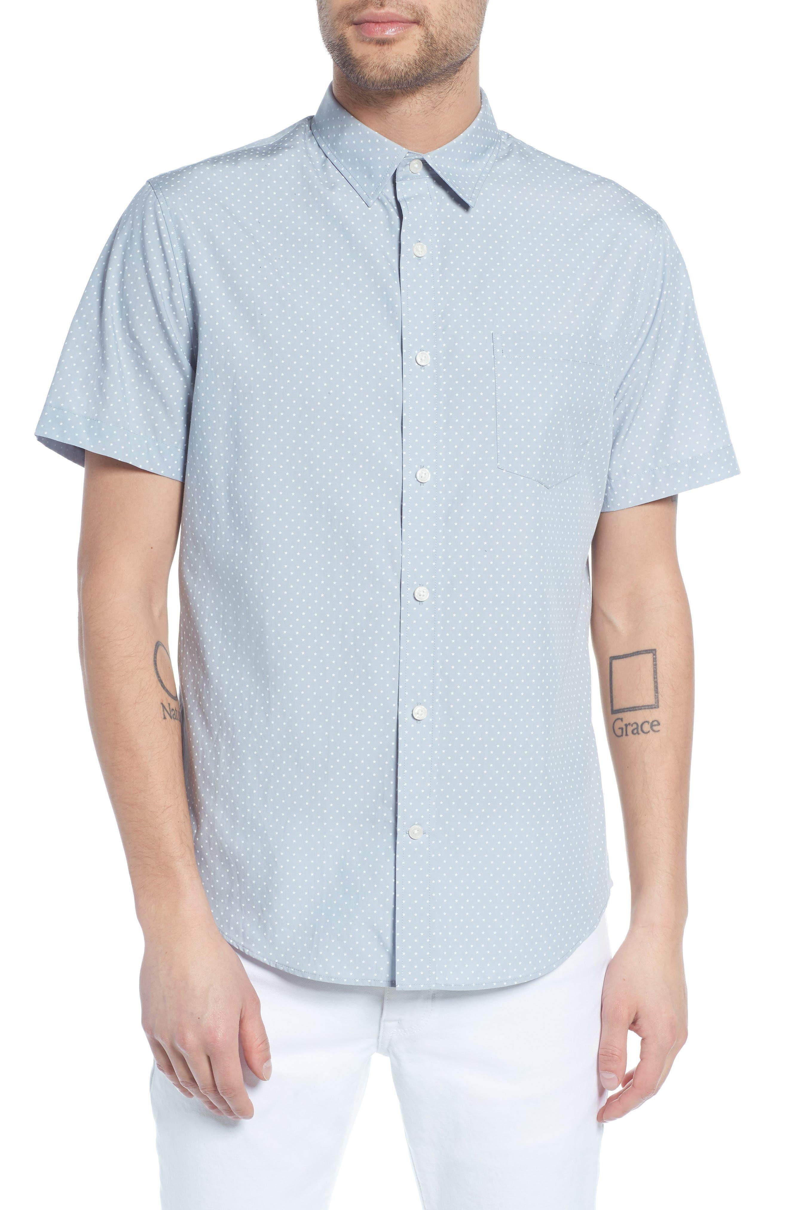 Classic Fit Micro Star Short Sleeve Sport Shirt,                         Main,                         color, ARCTIC