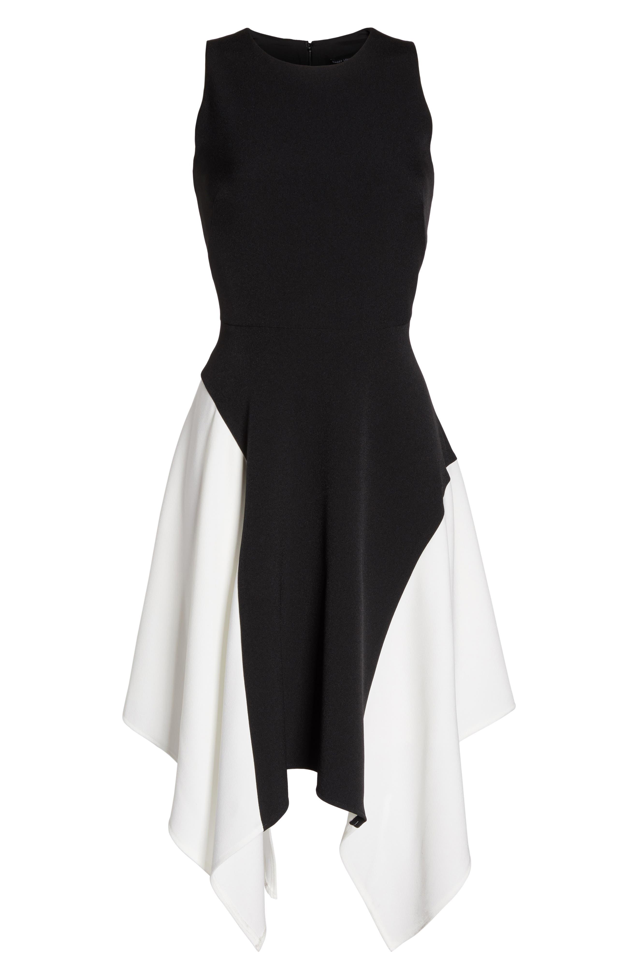 Colorblock Crepe Midi Dress,                             Alternate thumbnail 6, color,                             012
