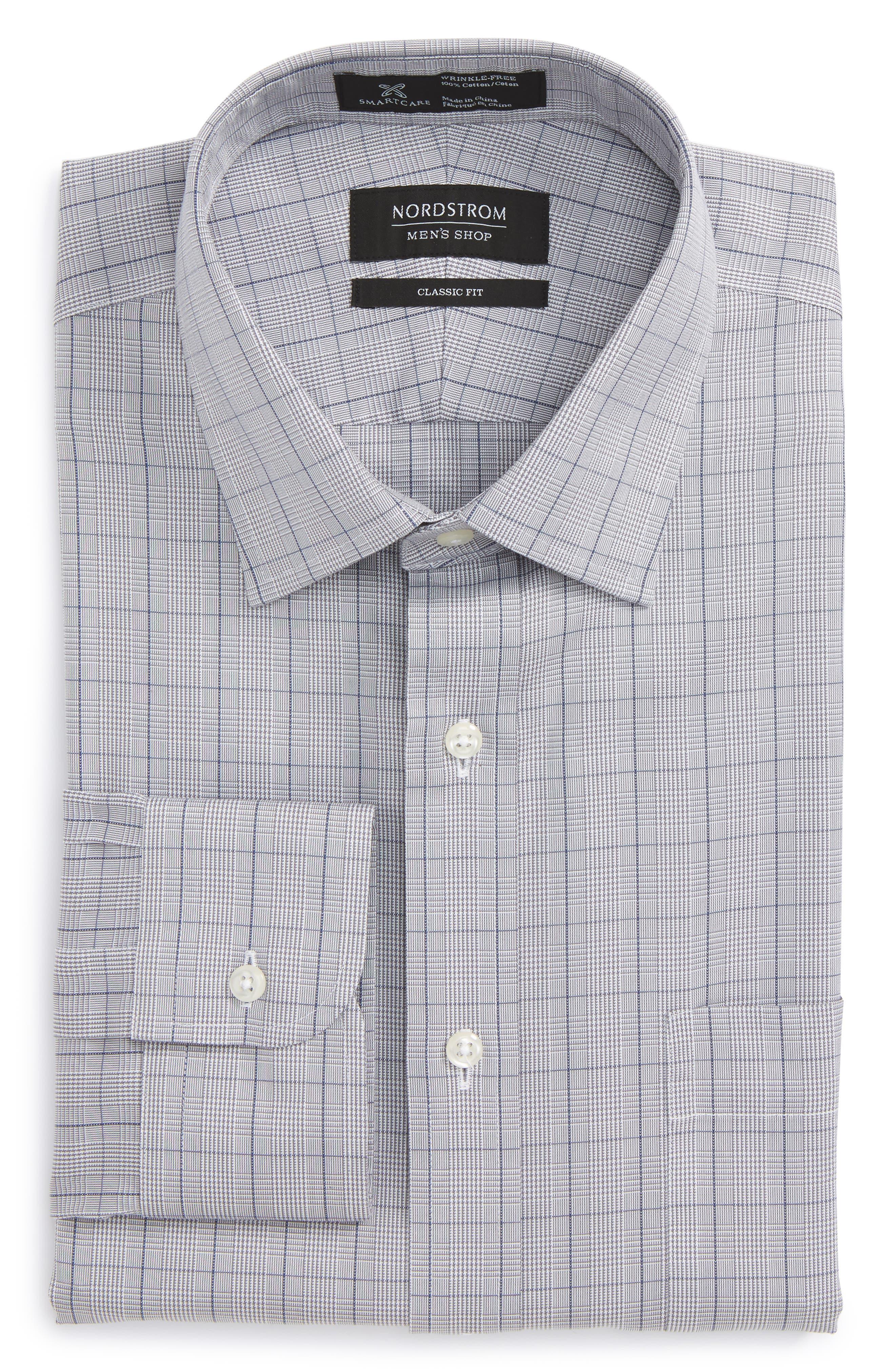 Smartcare<sup>™</sup> Classic Fit Windowpane Dress Shirt,                         Main,                         color,