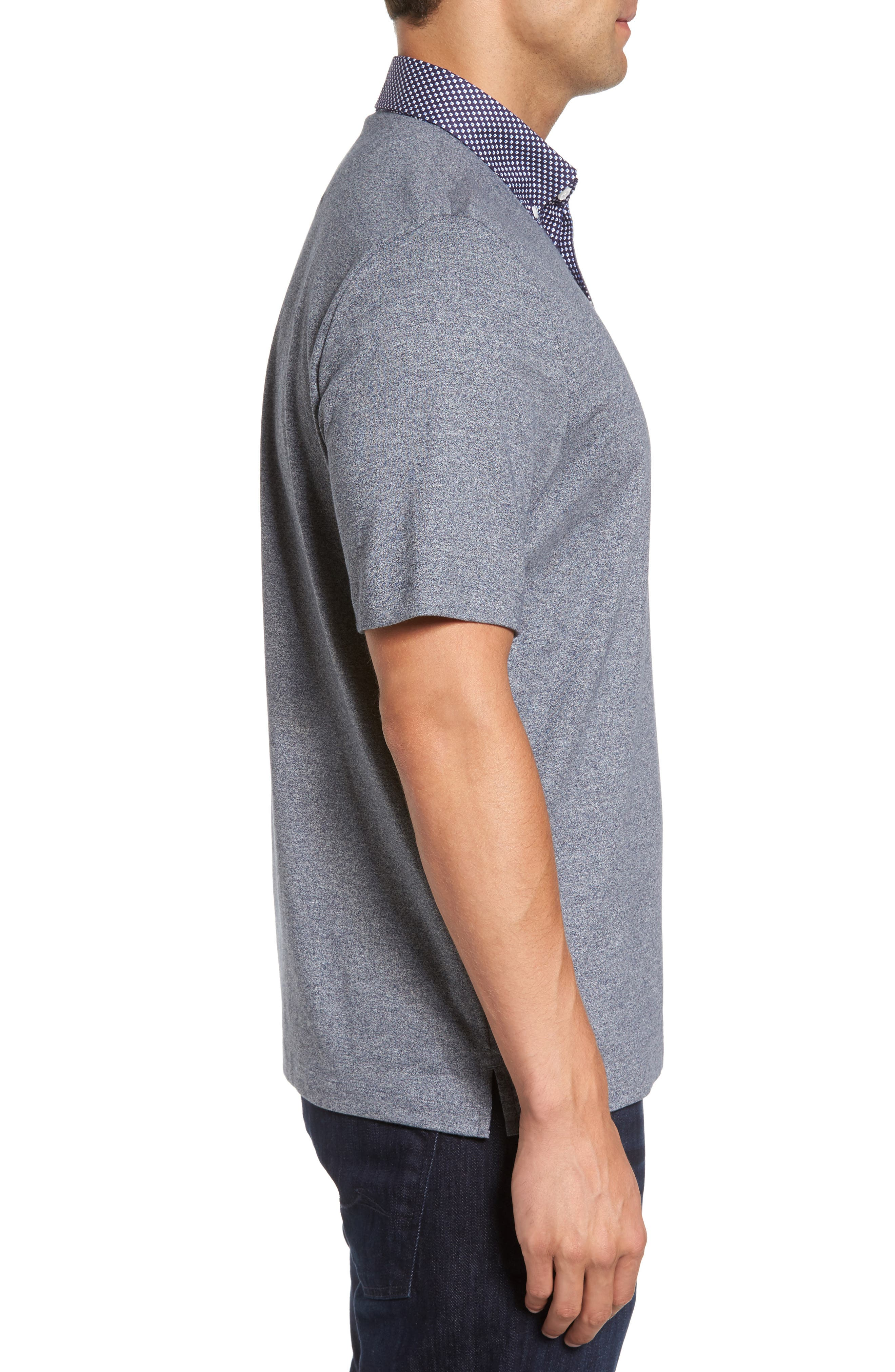 Heathered Button Down Polo,                             Alternate thumbnail 3, color,                             400