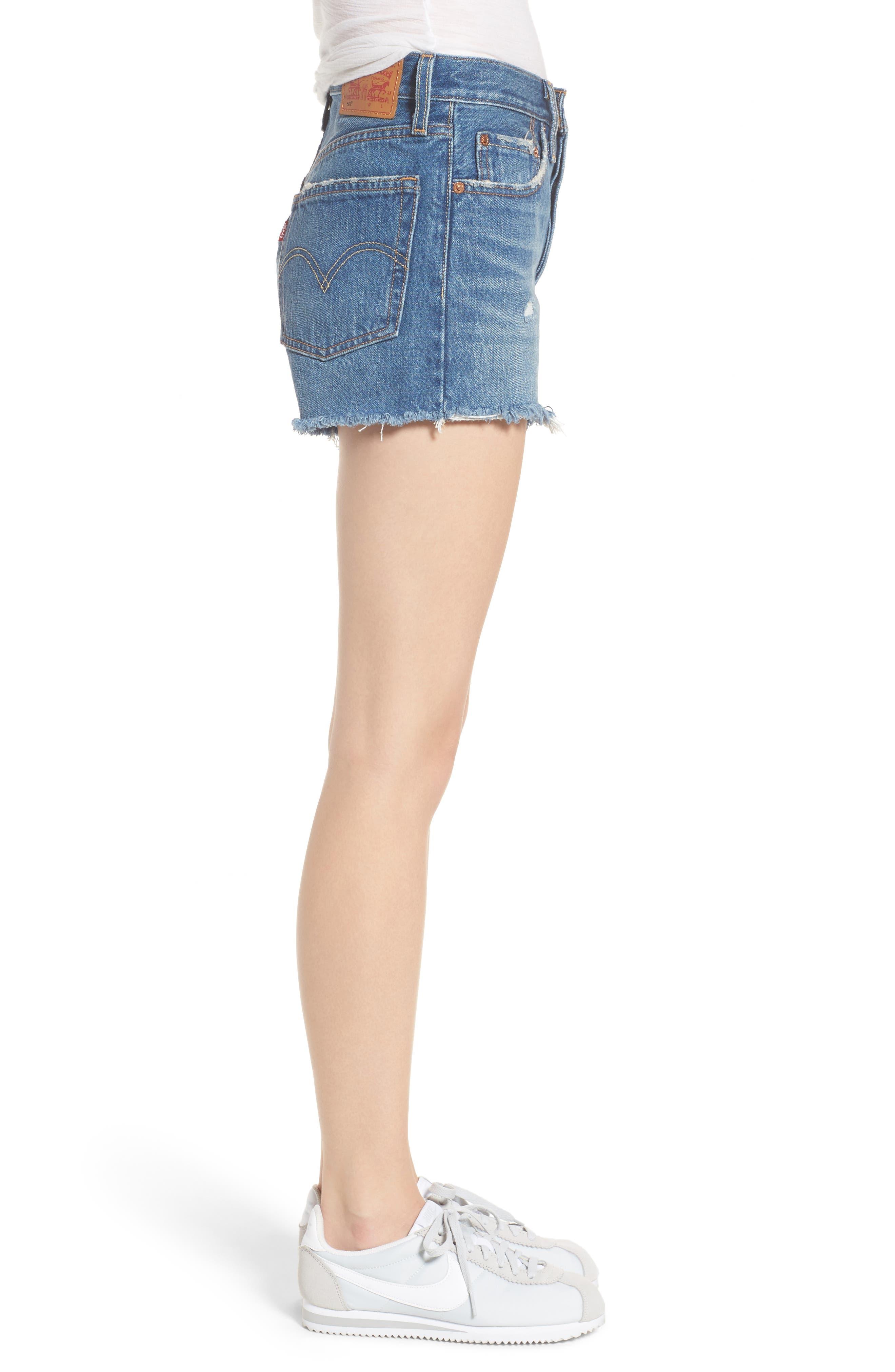 501<sup>®</sup> High Waist Cutoff Denim Shorts,                             Alternate thumbnail 3, color,                             401