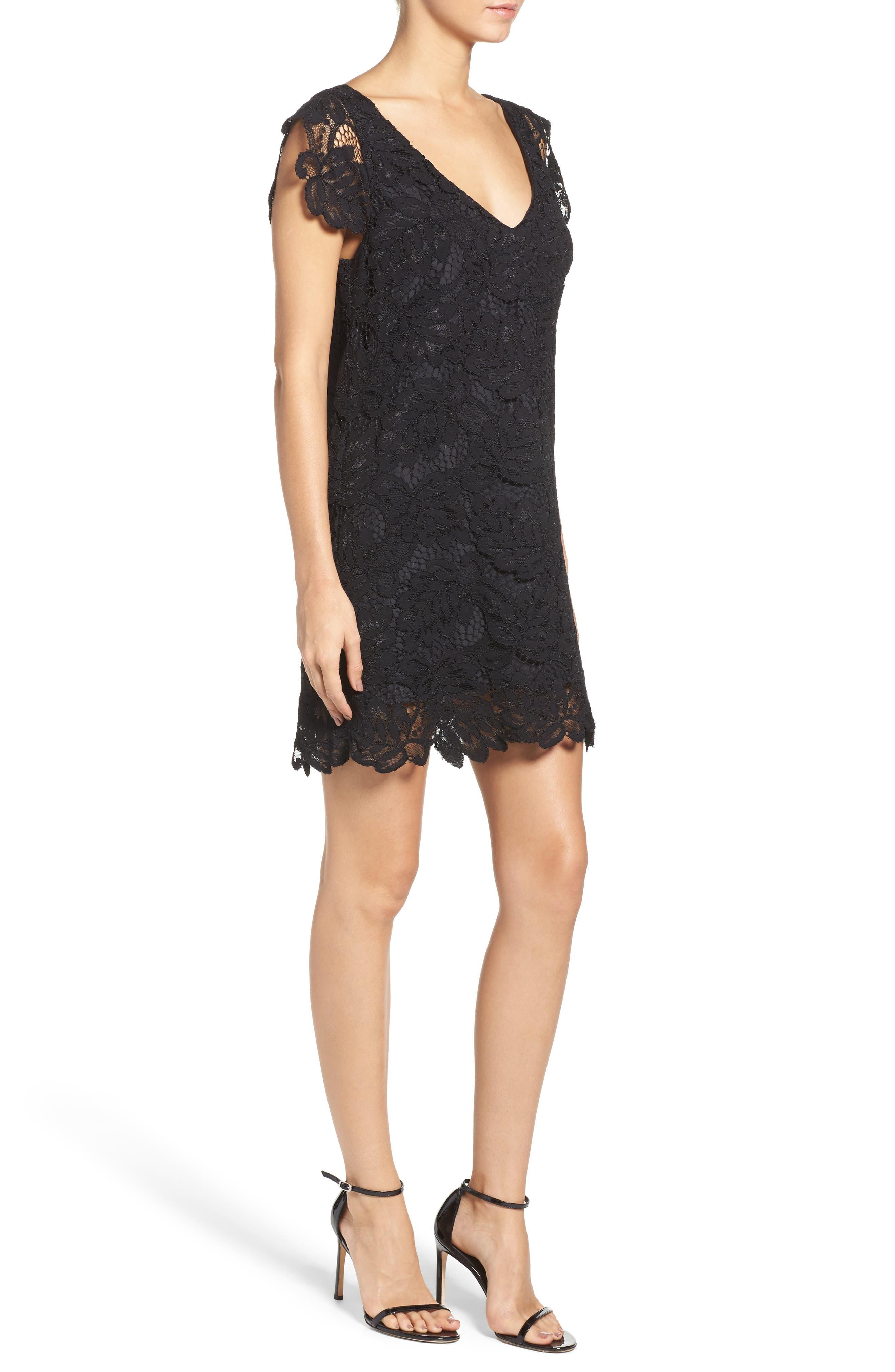 'Jacqueline' Lace Shift Dress,                             Alternate thumbnail 3, color,                             BLACK