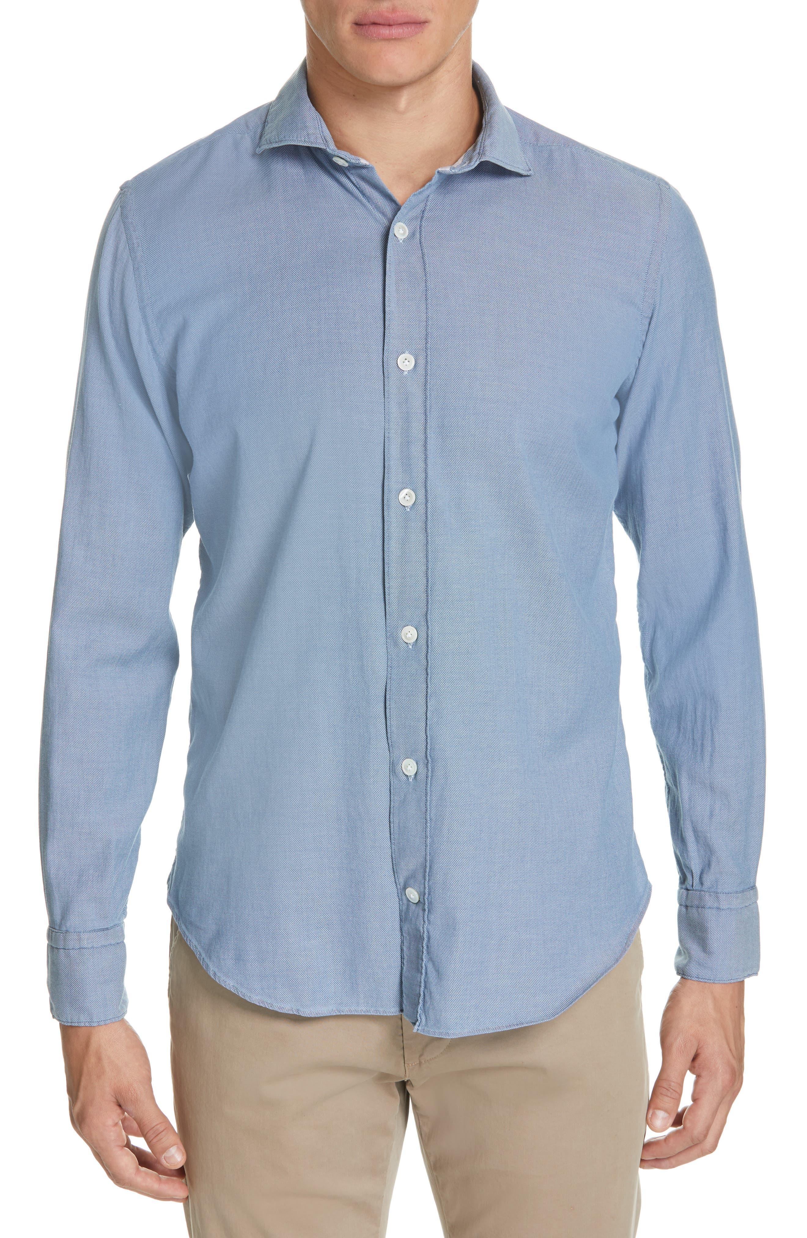 ELEVENTY Trim Fit Stretch Solid Sport Shirt, Main, color, DENIM