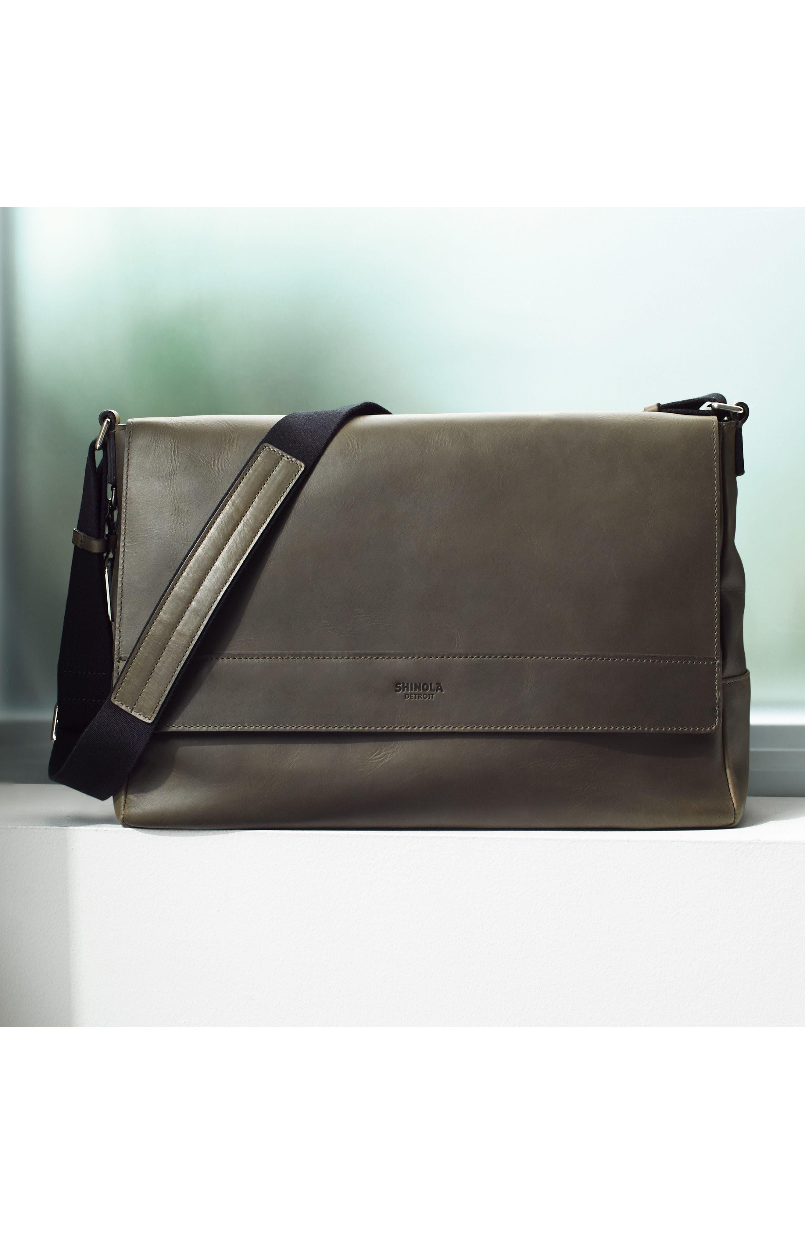Leather E/W Messenger Bag,                             Alternate thumbnail 5, color,                             CHARCOAL