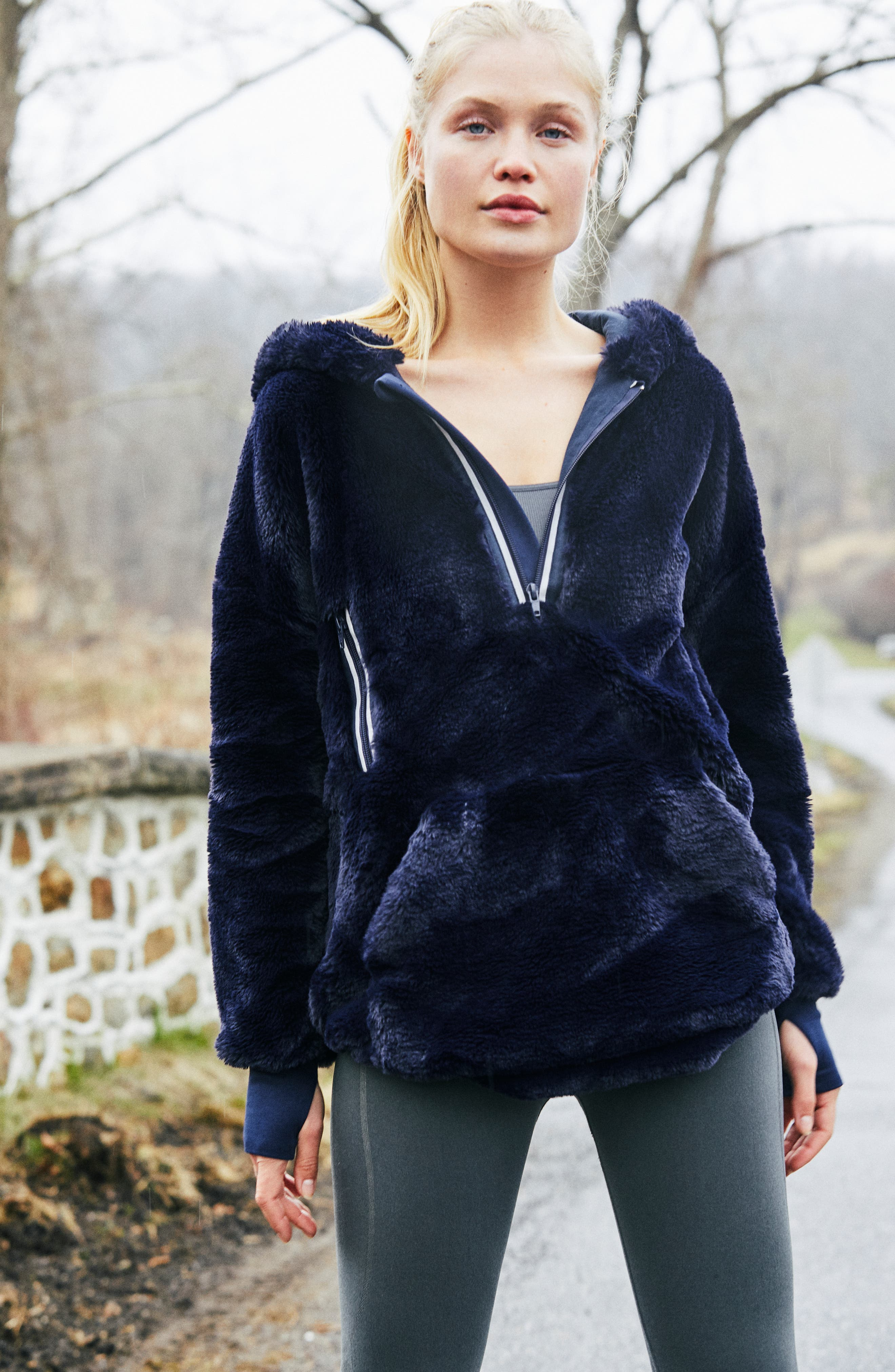 FREE PEOPLE MOVEMENT Free People Fp Movement Off The Record Soft Fleece Hoodie in Dark Blue