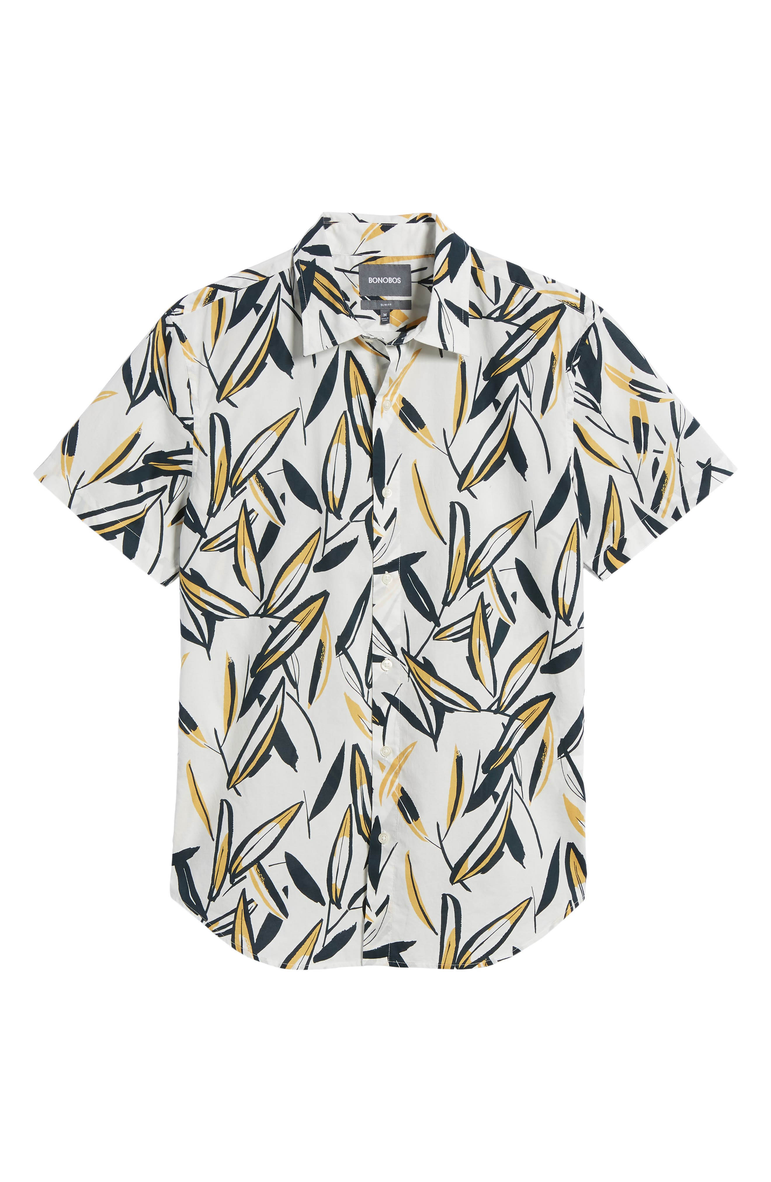 Riviera Slim Fit Leafy Print Sport Shirt,                             Alternate thumbnail 6, color,                             100
