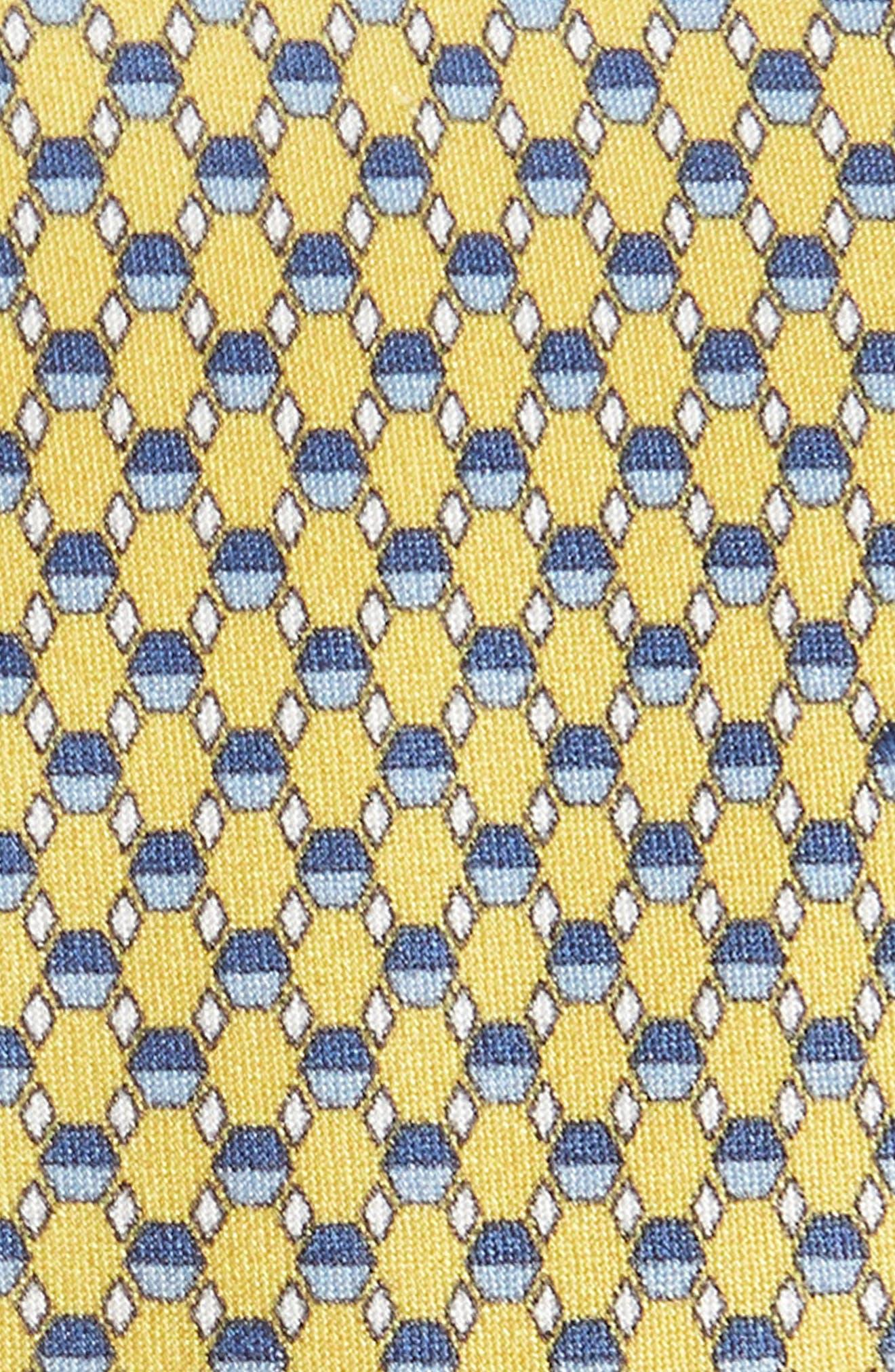 Geometric Silk Tie,                             Alternate thumbnail 2, color,                             YELLOW/ BLUE