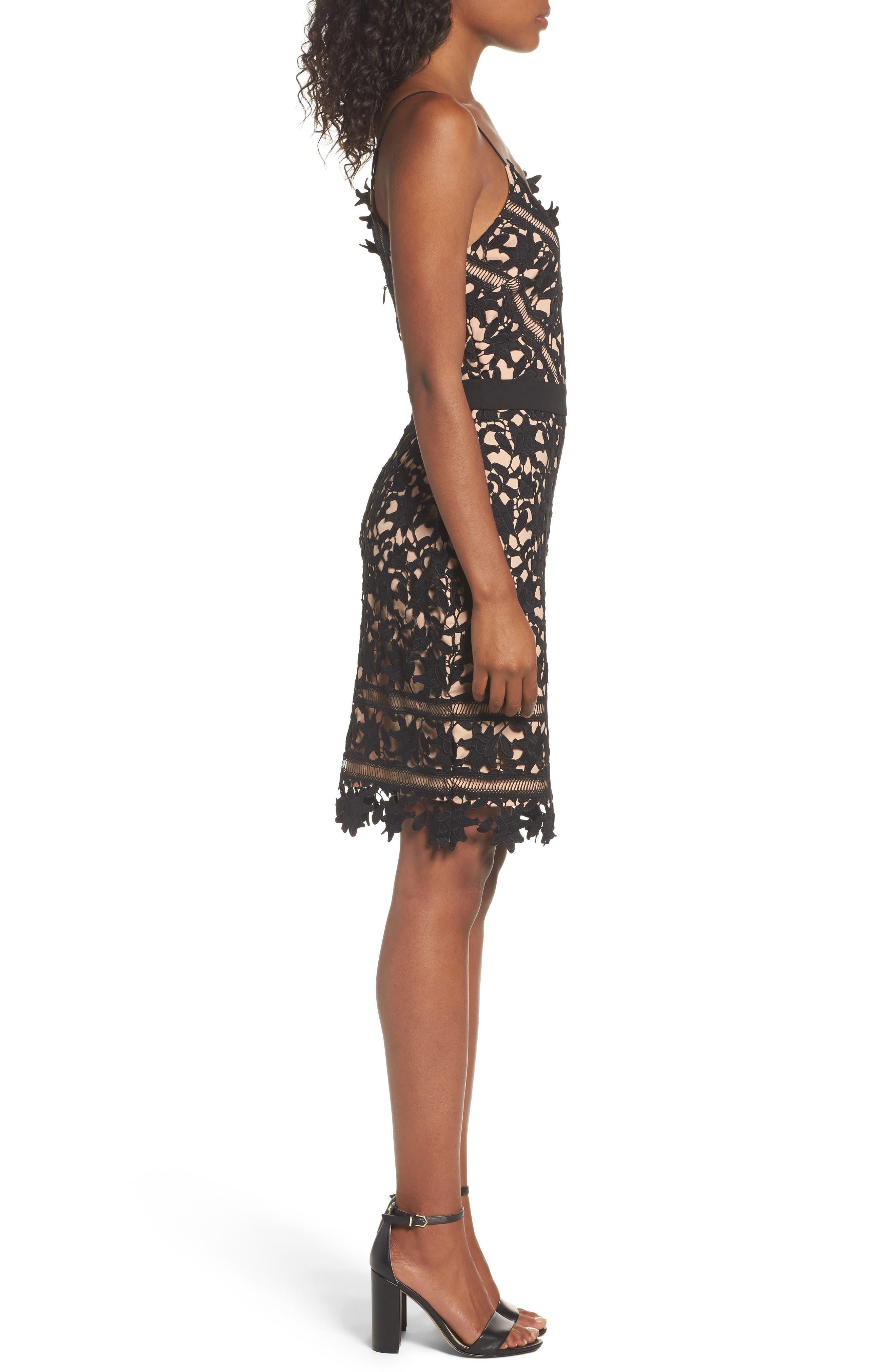 Whitney Lace Sheath Dress,                             Alternate thumbnail 3, color,                             001