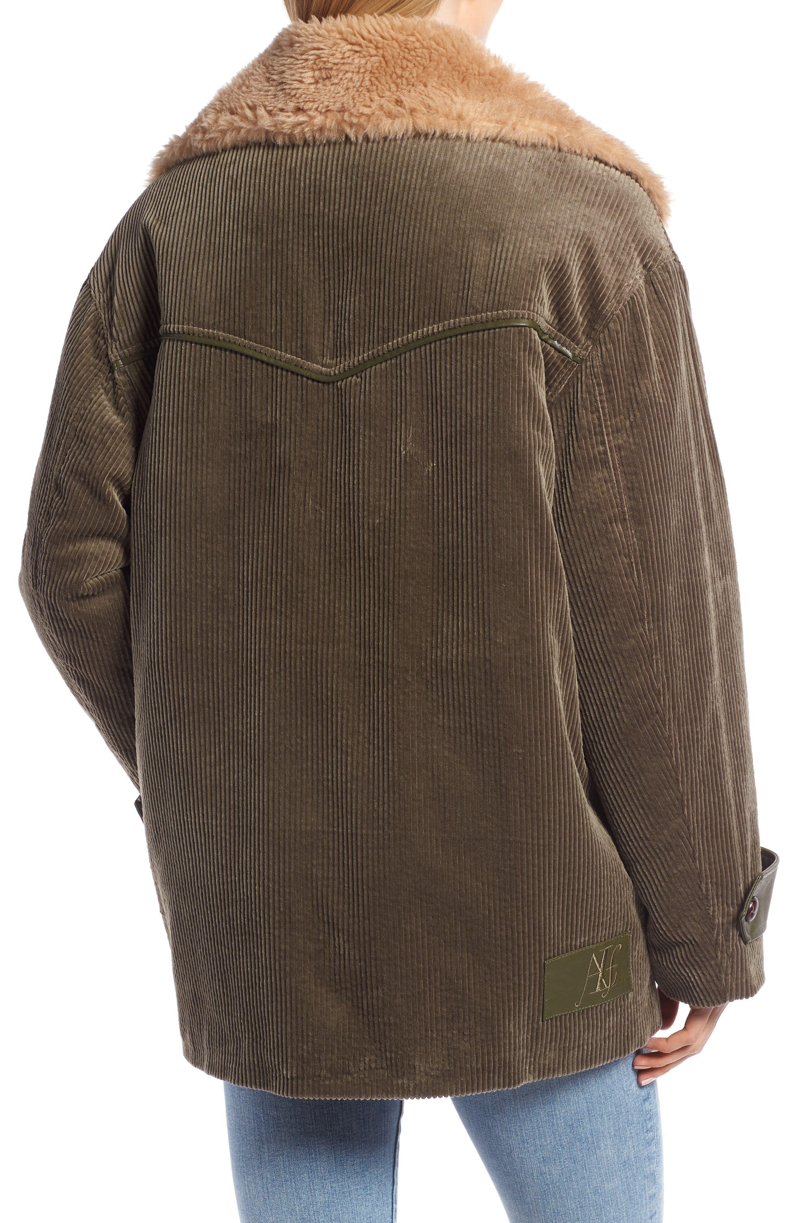 Corduroy & Faux Shearling Trim Jacket,                             Alternate thumbnail 2, color,                             OLIVE