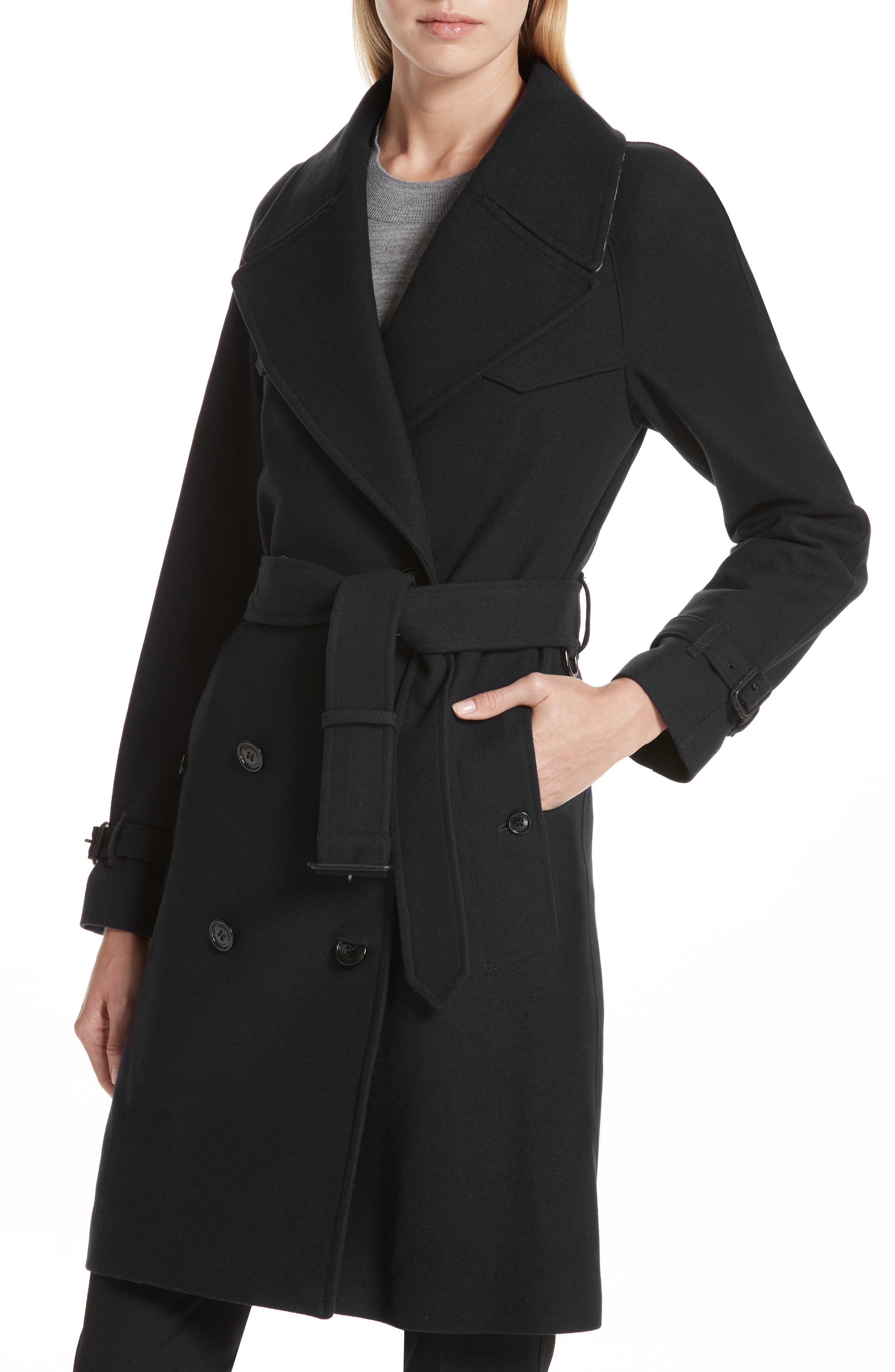 BURBERRY,                             Cranston Wool Blend Trench Coat,                             Alternate thumbnail 4, color,                             001