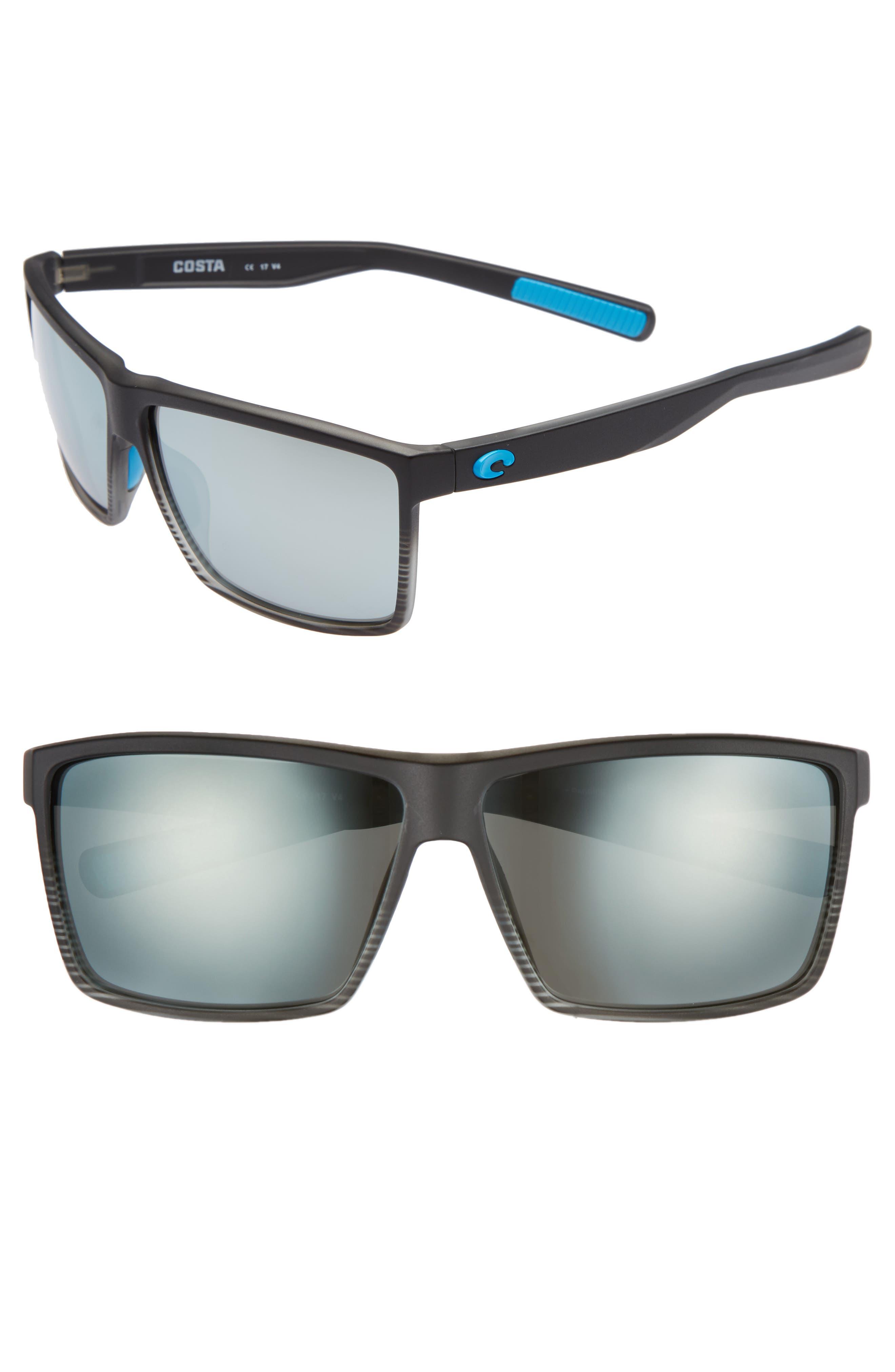 Rincon 60mm Polarized Sunglasses,                         Main,                         color, SMOKE CRYSTAL/ SILVER MIRROR