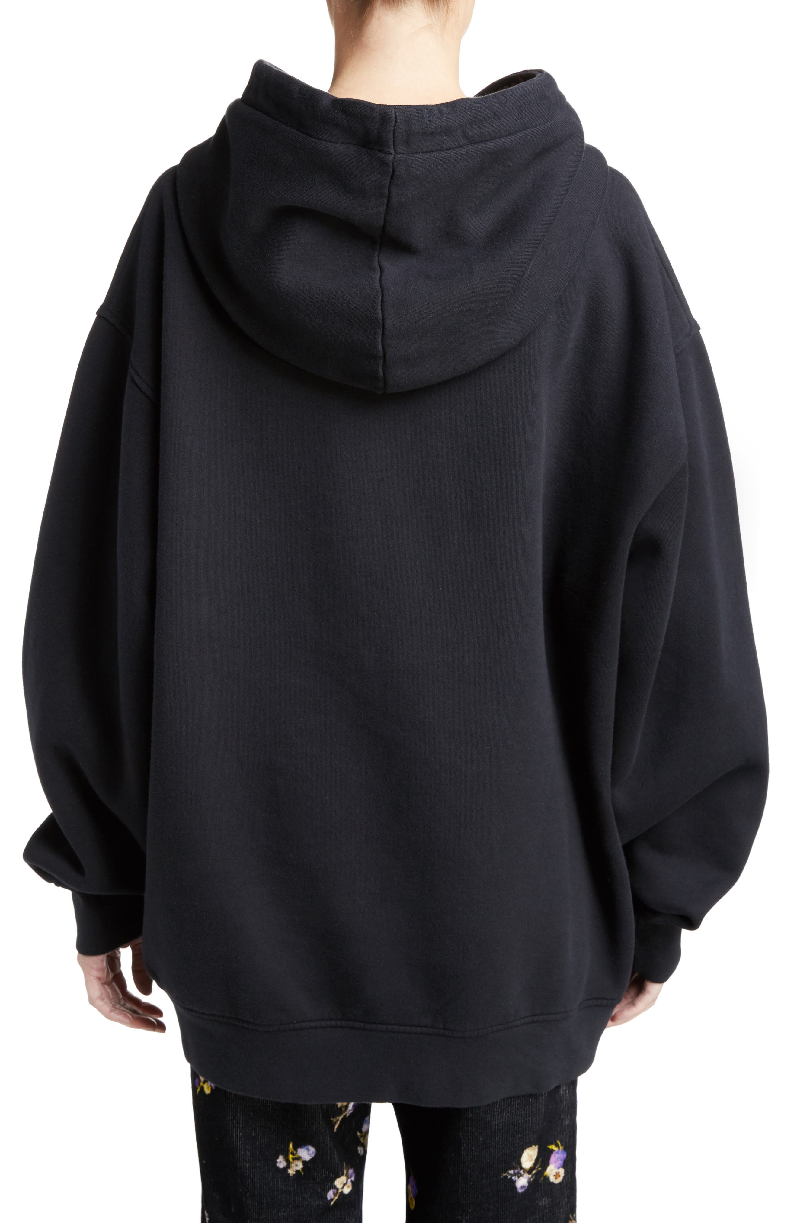 ACNE STUDIOS,                             Yala Oversize Hoodie,                             Alternate thumbnail 2, color,                             001