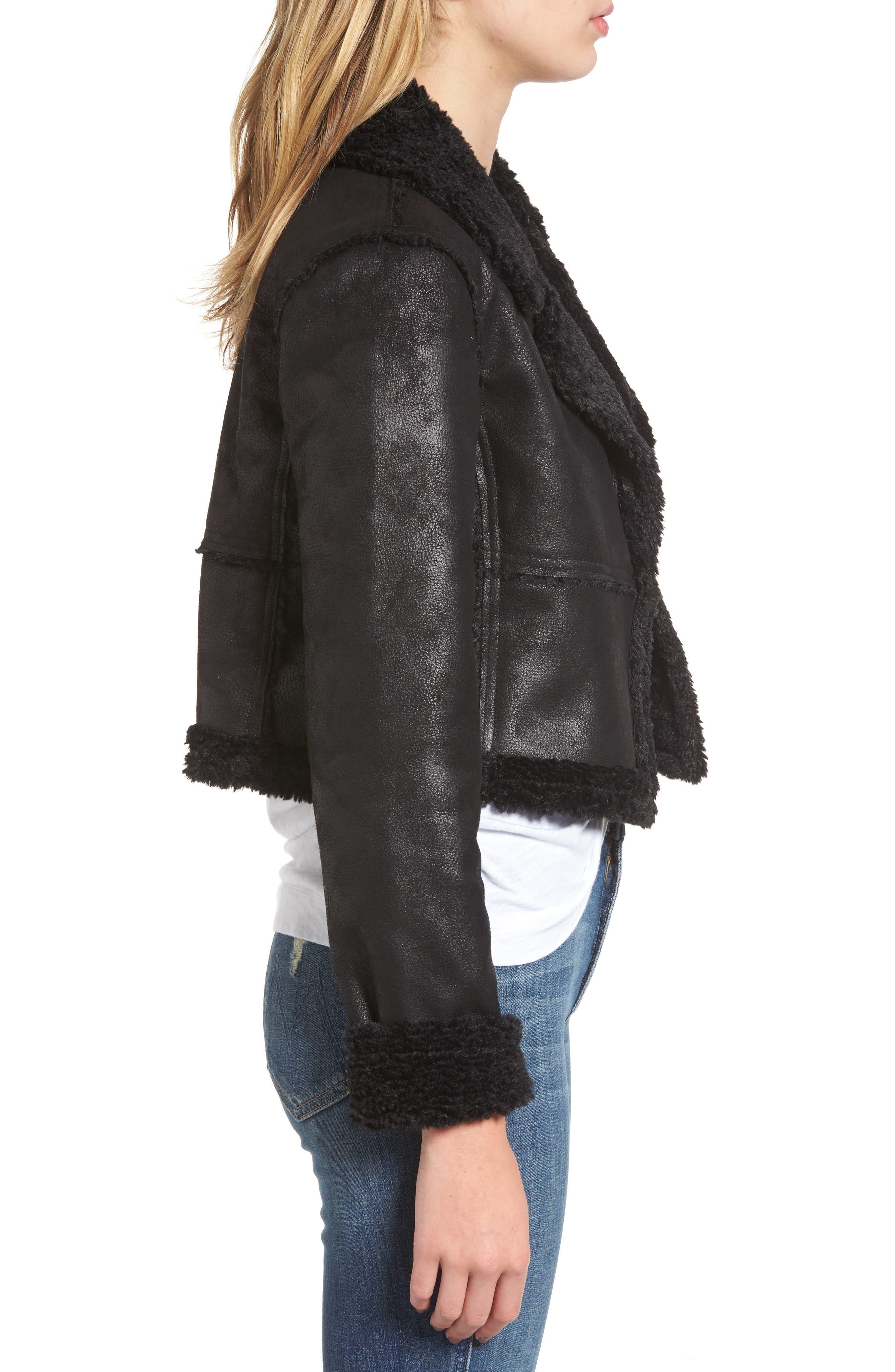 Claudine Faux Shearling Moto Jacket,                             Alternate thumbnail 3, color,                             001