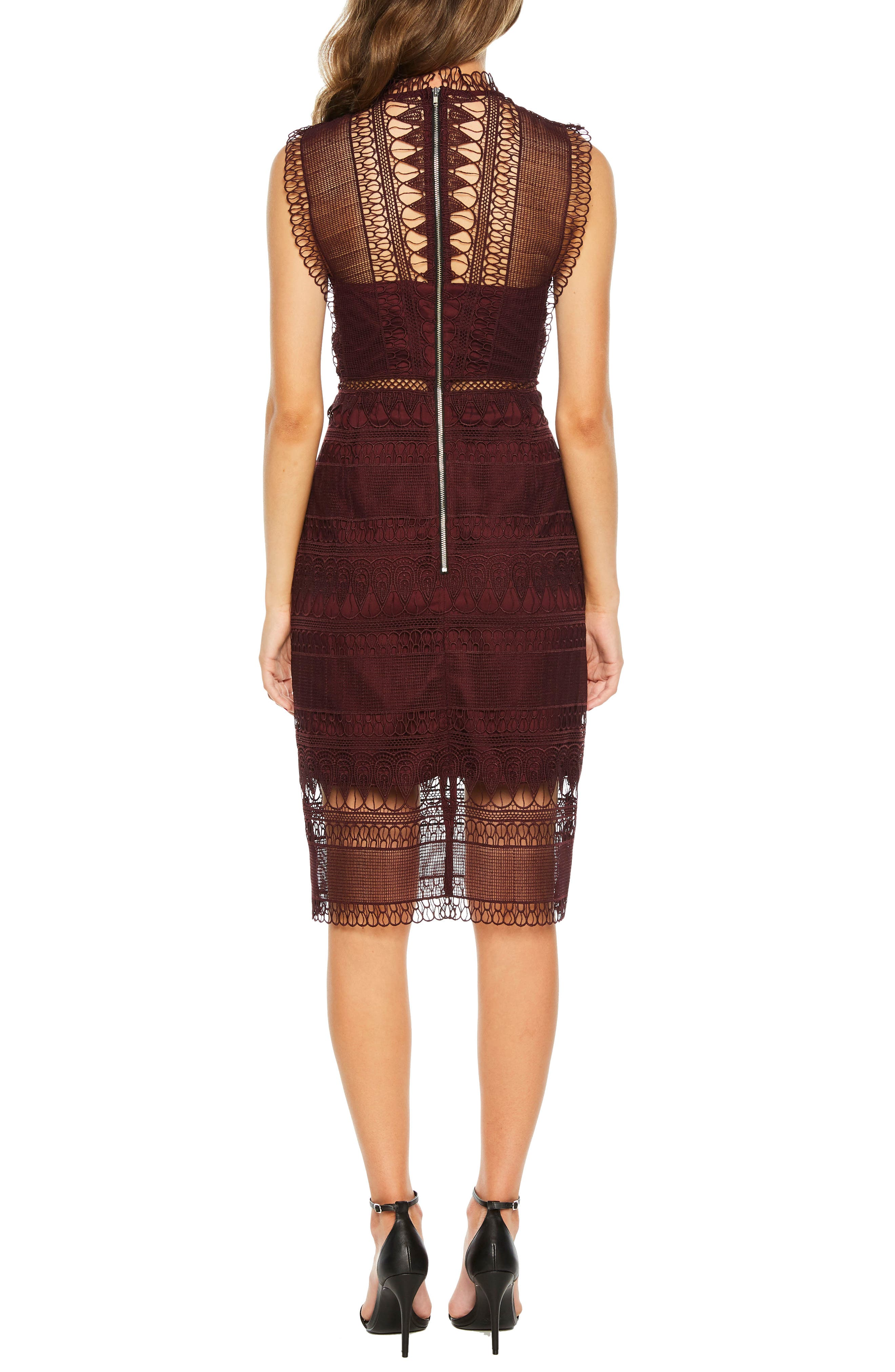 Mariana Lace Body-Con Dress,                             Alternate thumbnail 2, color,                             BURGUNDY
