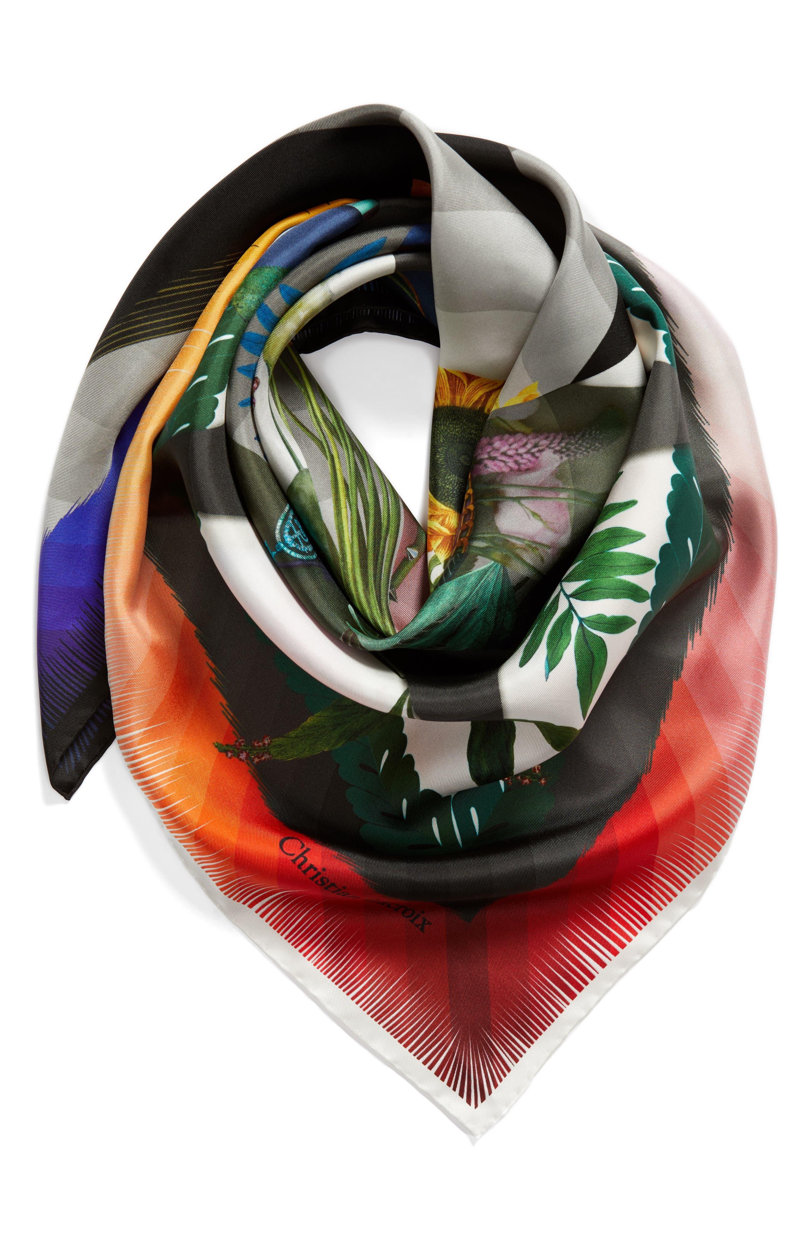 Cristian Lacroix Botanic Silk Scarf,                             Alternate thumbnail 3, color,                             BLACK