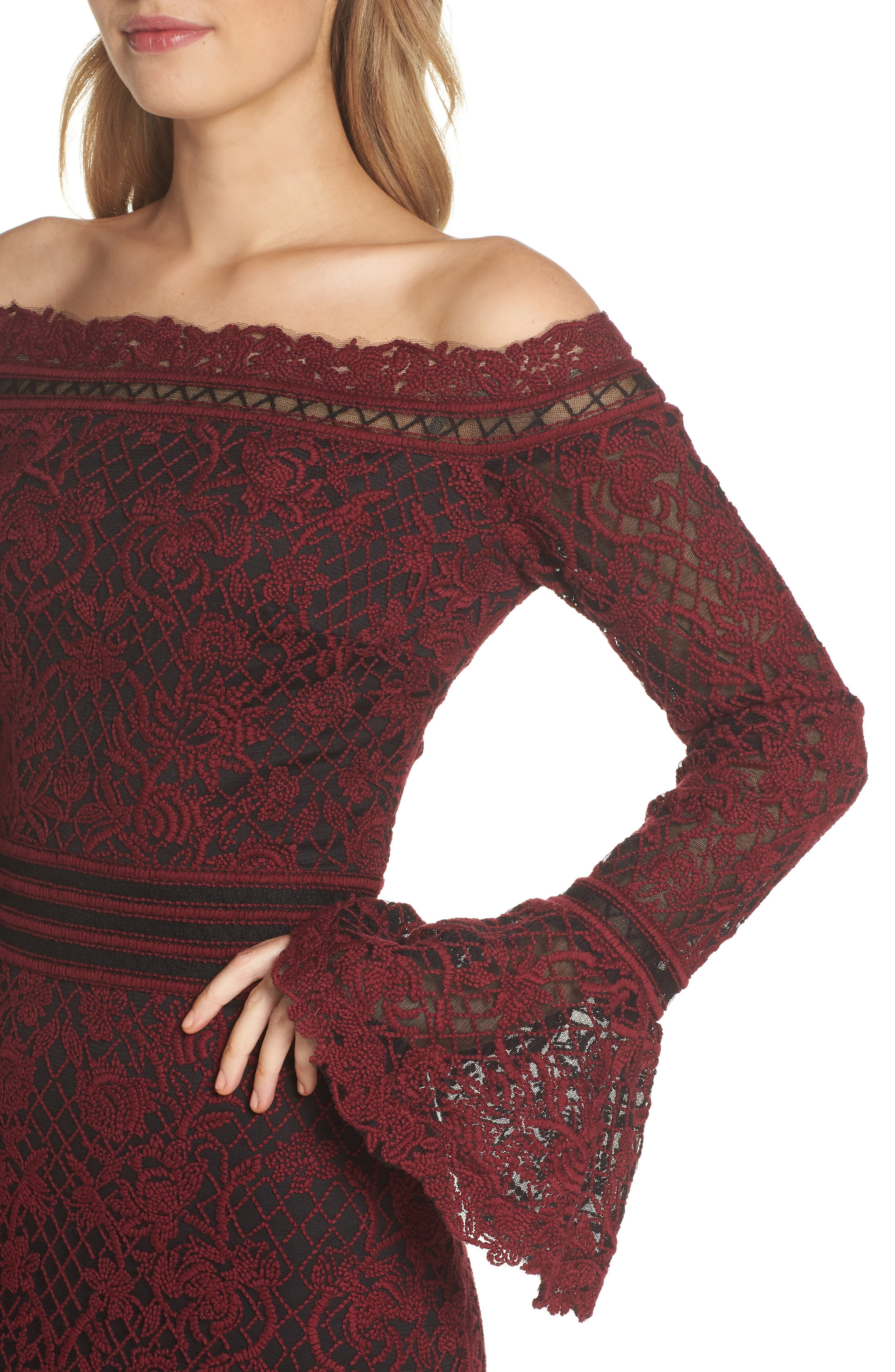 Bell Sleeve Embroidered Lace Gown,                             Alternate thumbnail 4, color,                             AUTUMN/ BLACK