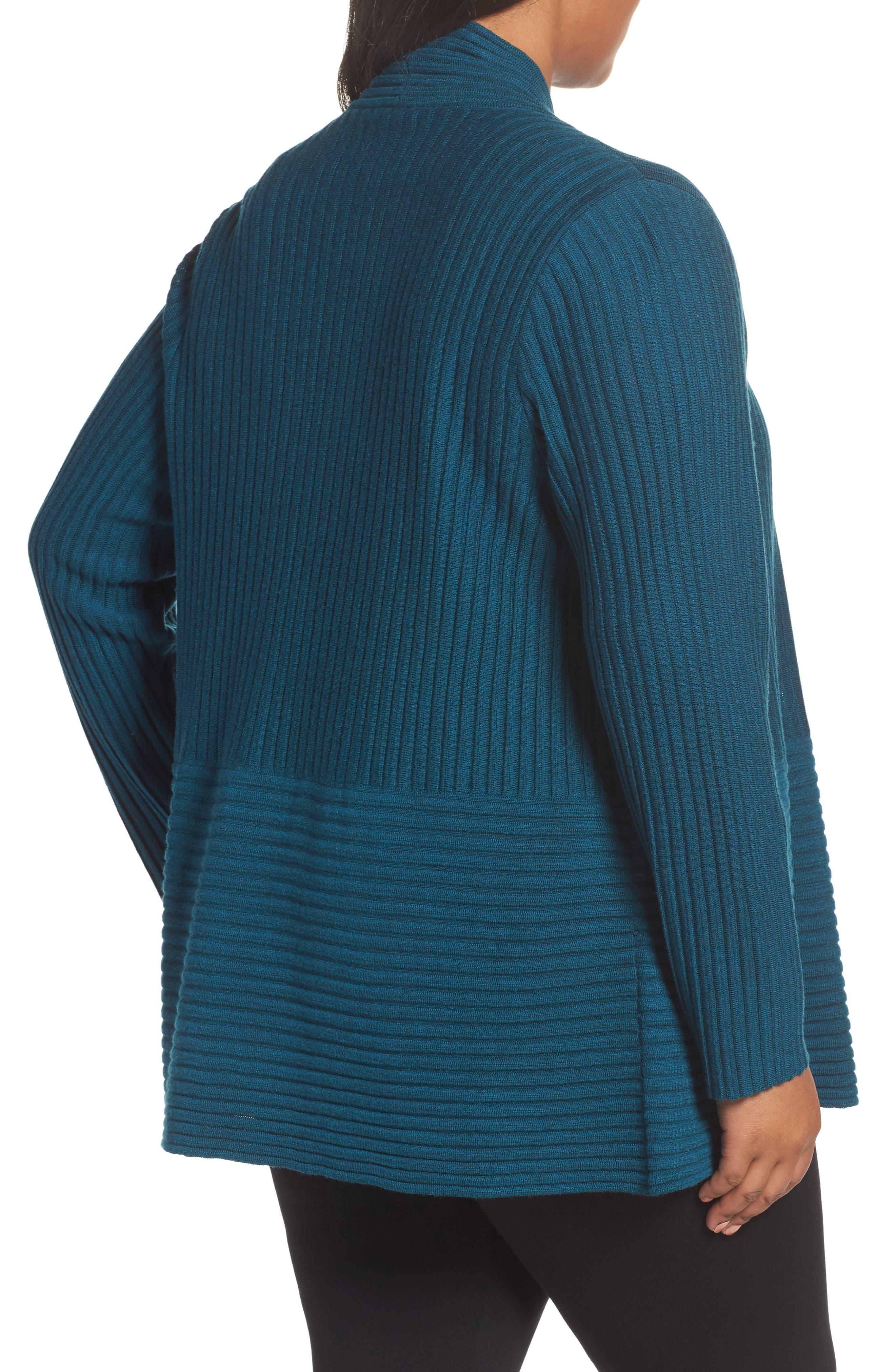 Ribbed Merino Wool Long Cardigan,                             Alternate thumbnail 8, color,