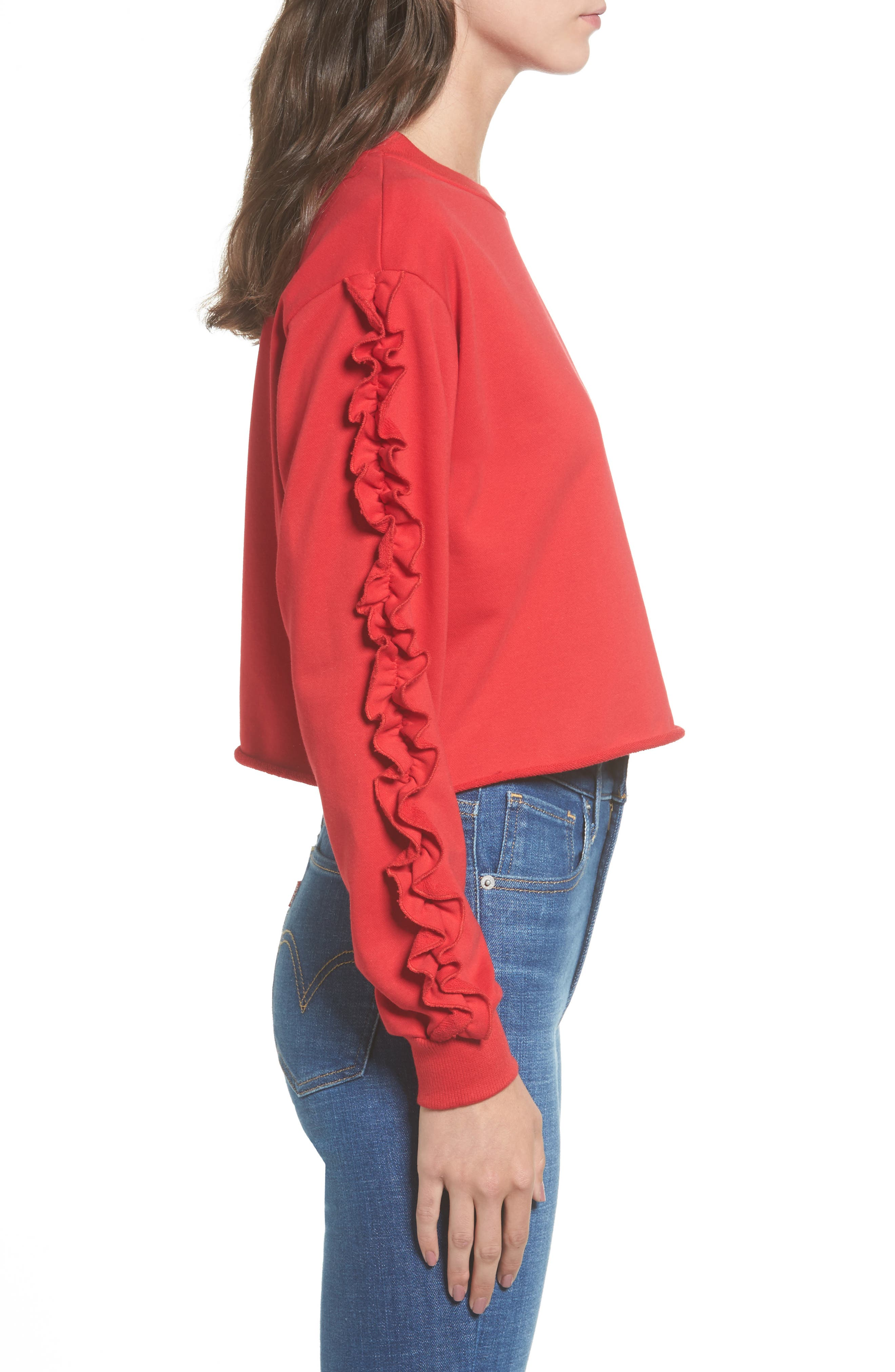 Ruffle Trim Sweatshirt,                             Alternate thumbnail 3, color,                             600