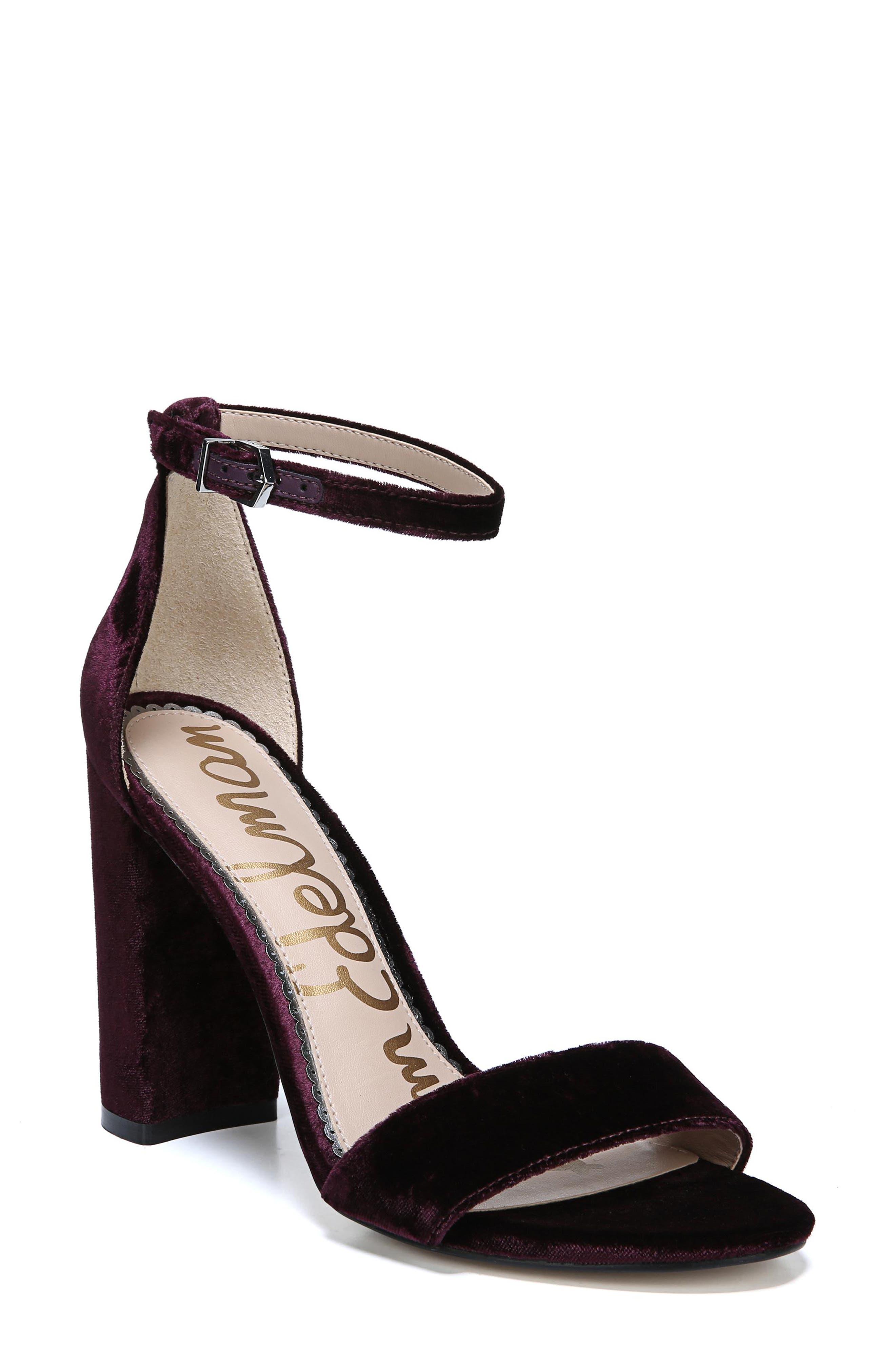 SAM EDELMAN Yaro Velvet 100Mm Sandals in Raspberry Wine Velvet