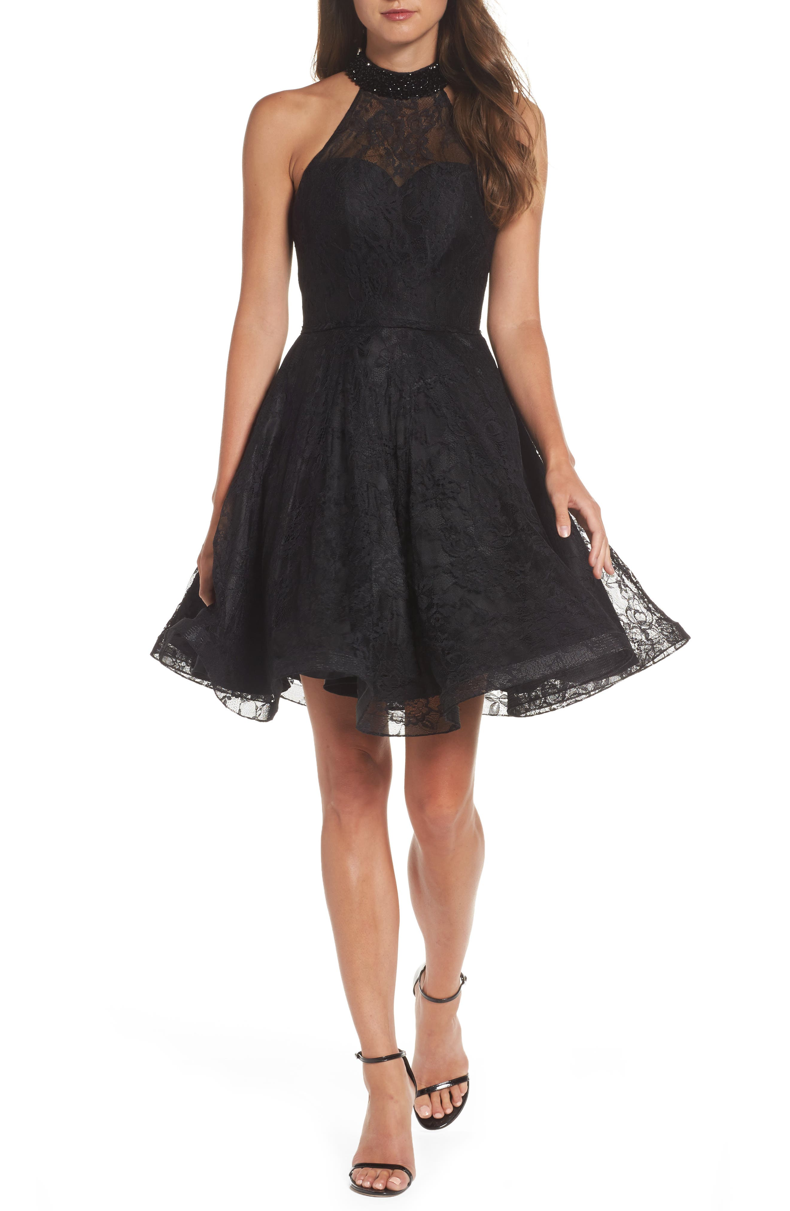 Beaded Lace Fit & Flare Dress,                         Main,                         color, 001