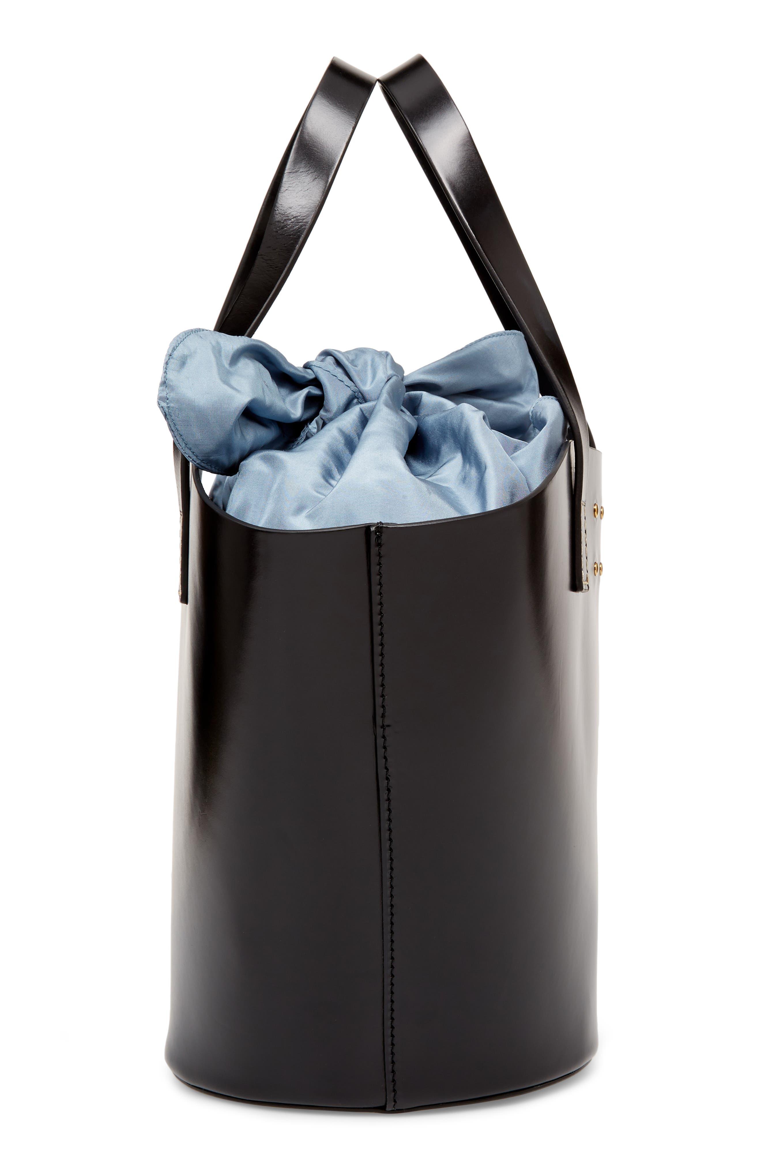Large Leather Bucket Bag,                             Alternate thumbnail 5, color,                             BLACK W/ ENGLISH BLUE