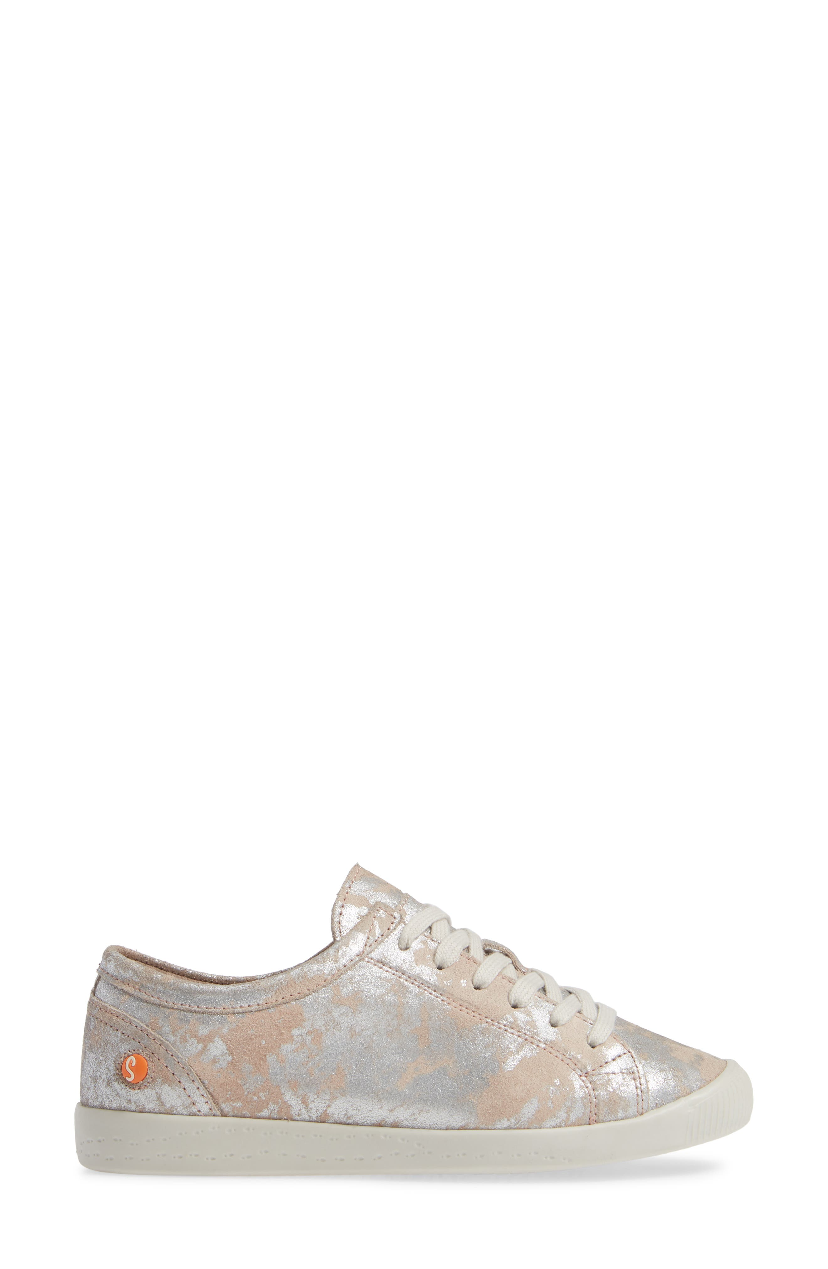 Isla Distressed Sneaker,                             Alternate thumbnail 3, color,                             ROSE LEATHER