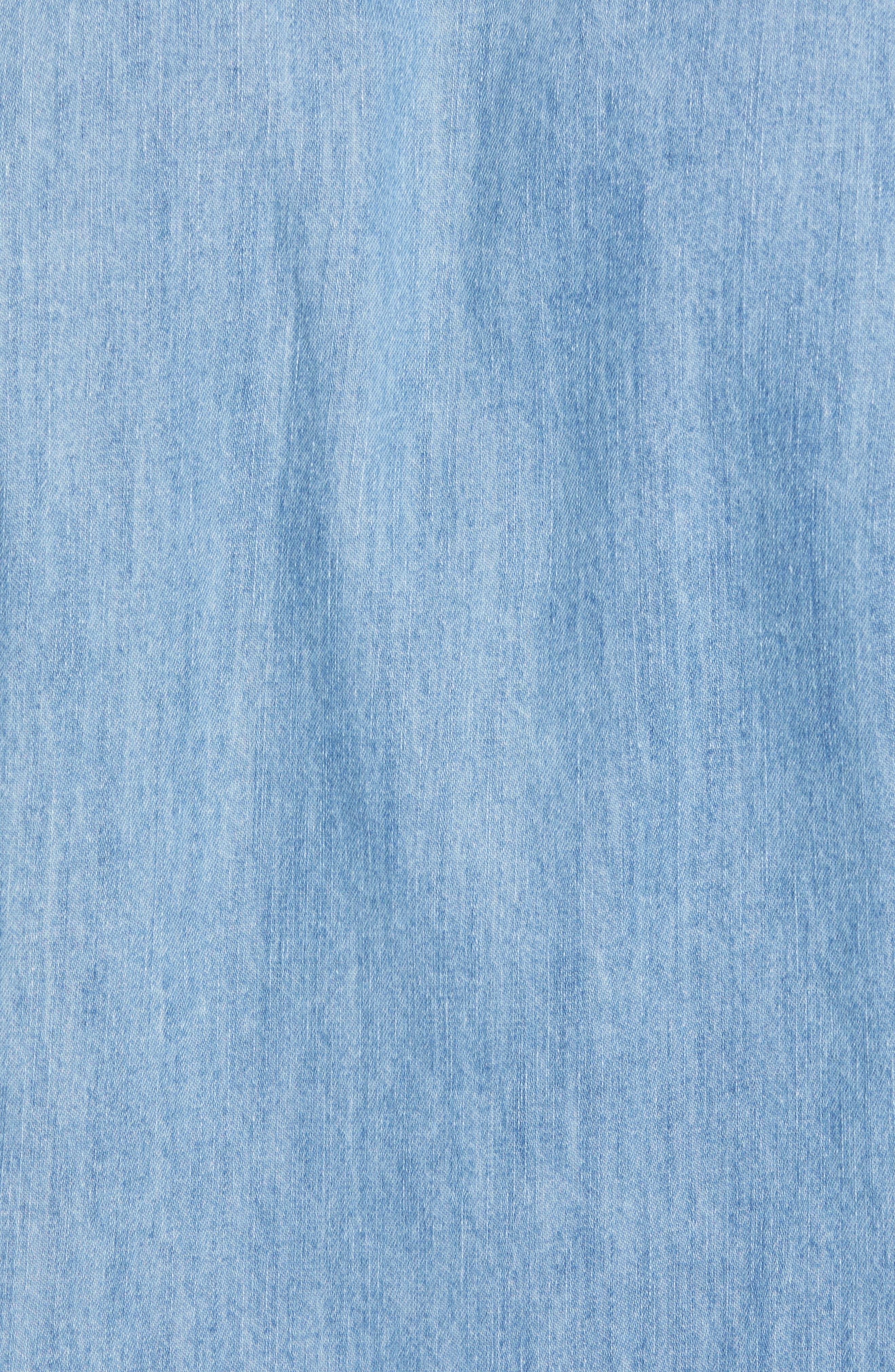 Amsterdams Blauw Pocket Square Chambray Sport Shirt,                             Alternate thumbnail 5, color,                             DENIM BLUE