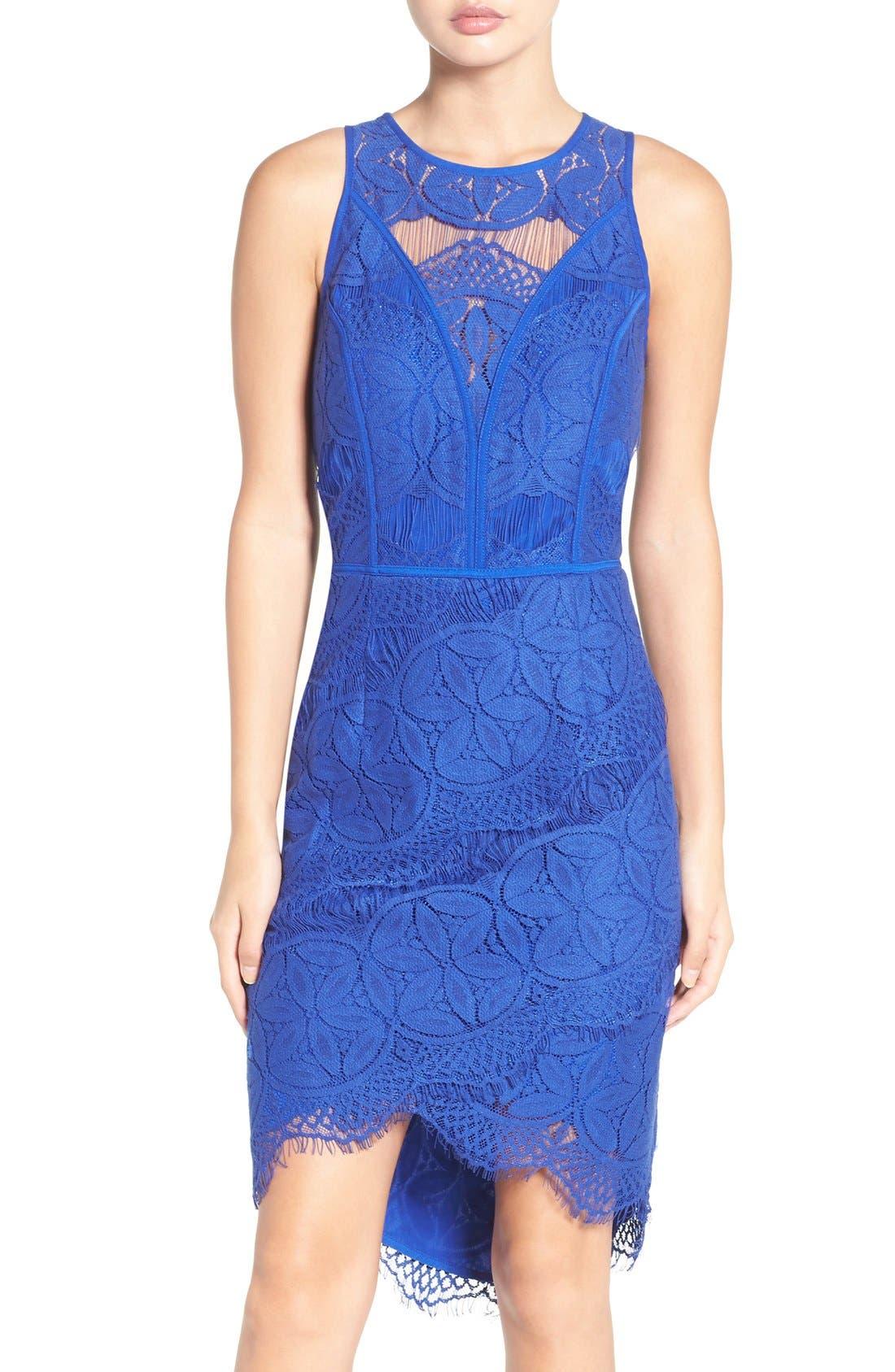 Lace High/Low Sheath Dress,                             Main thumbnail 4, color,