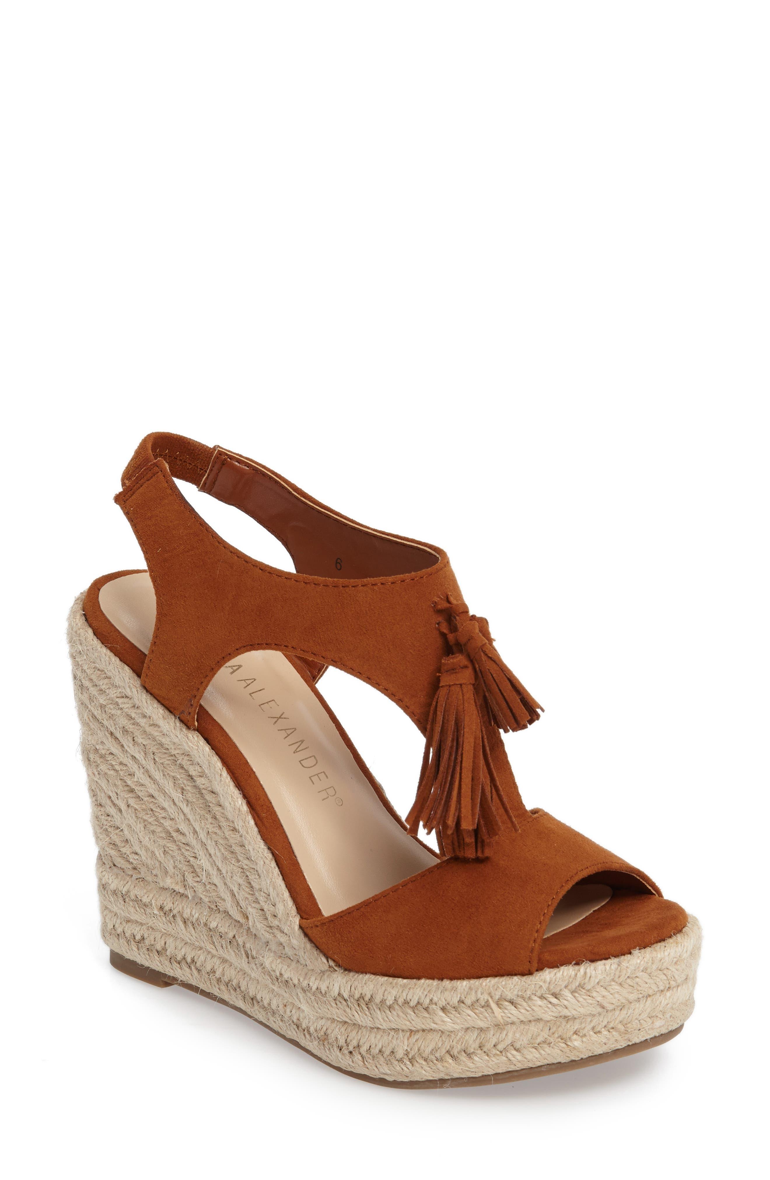 Jenissa Wedge Espradrille Sandal,                         Main,                         color, TAN FAUX SUEDE