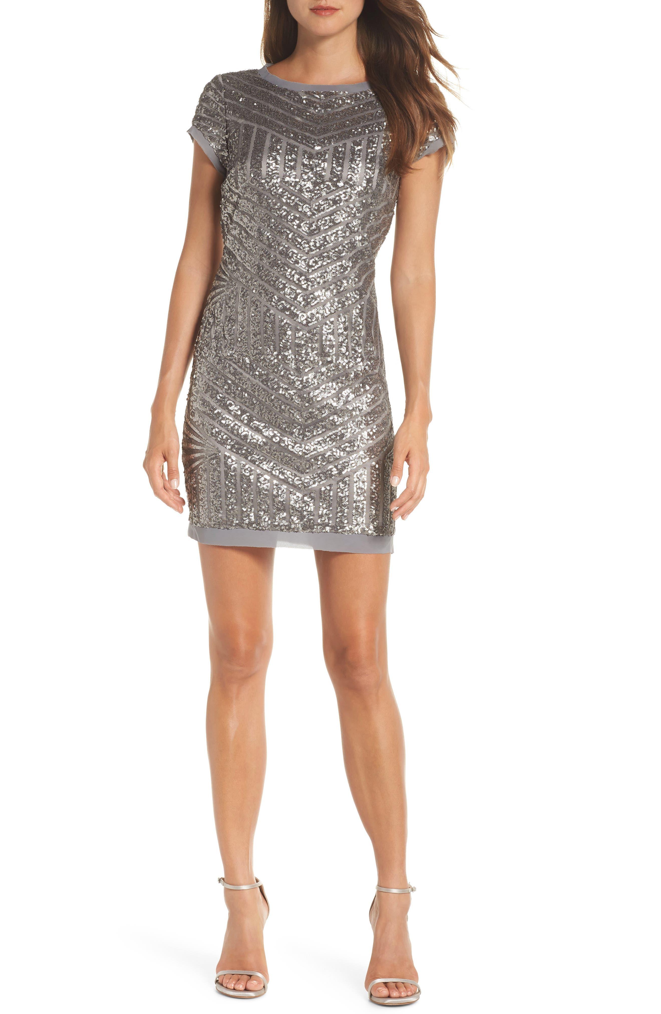 Sequin Embellished Shift Dress,                             Main thumbnail 1, color,                             040