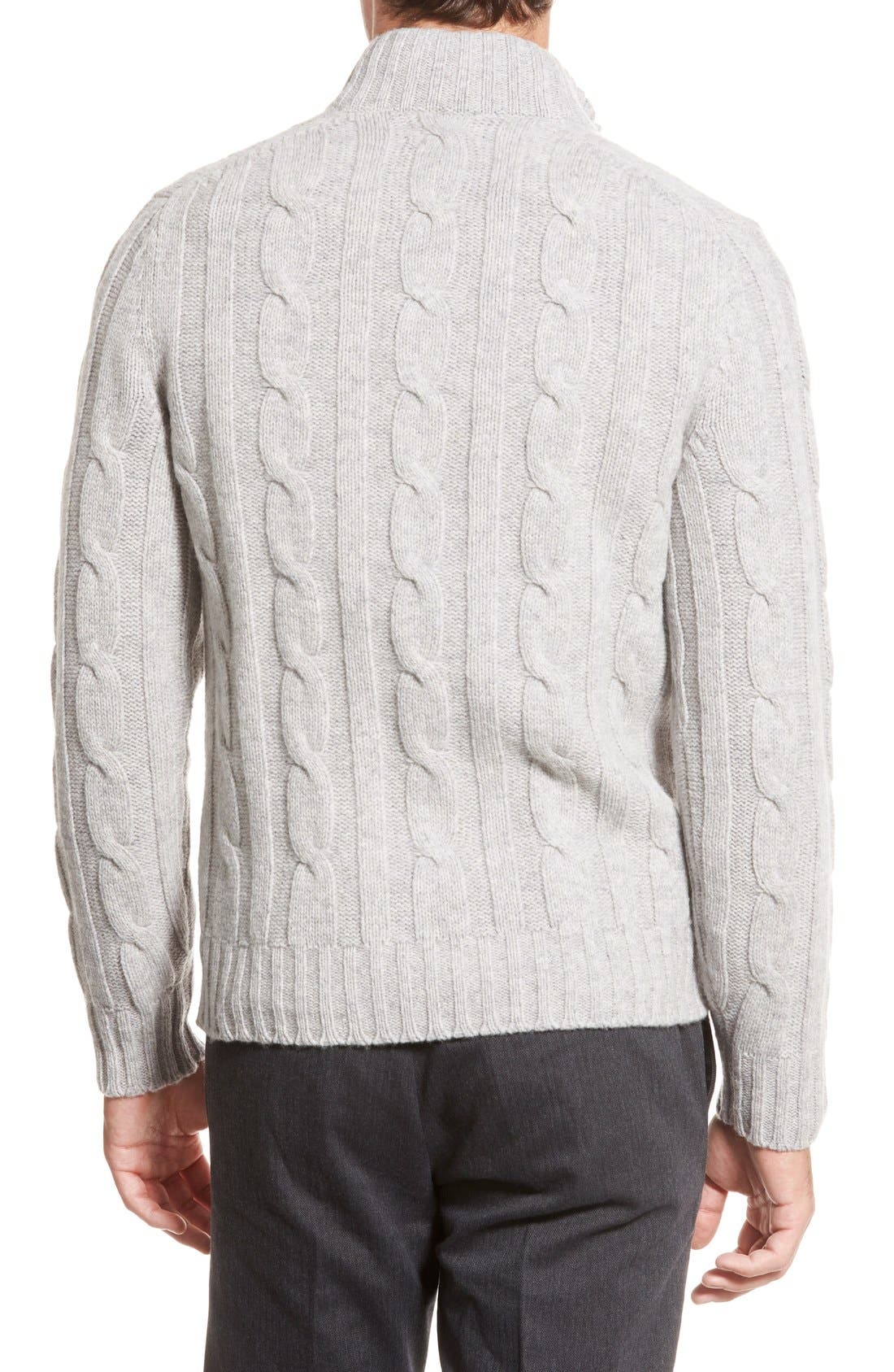 Cable Knit Quarter Zip Pullover Sweater,                             Alternate thumbnail 6, color,                             020