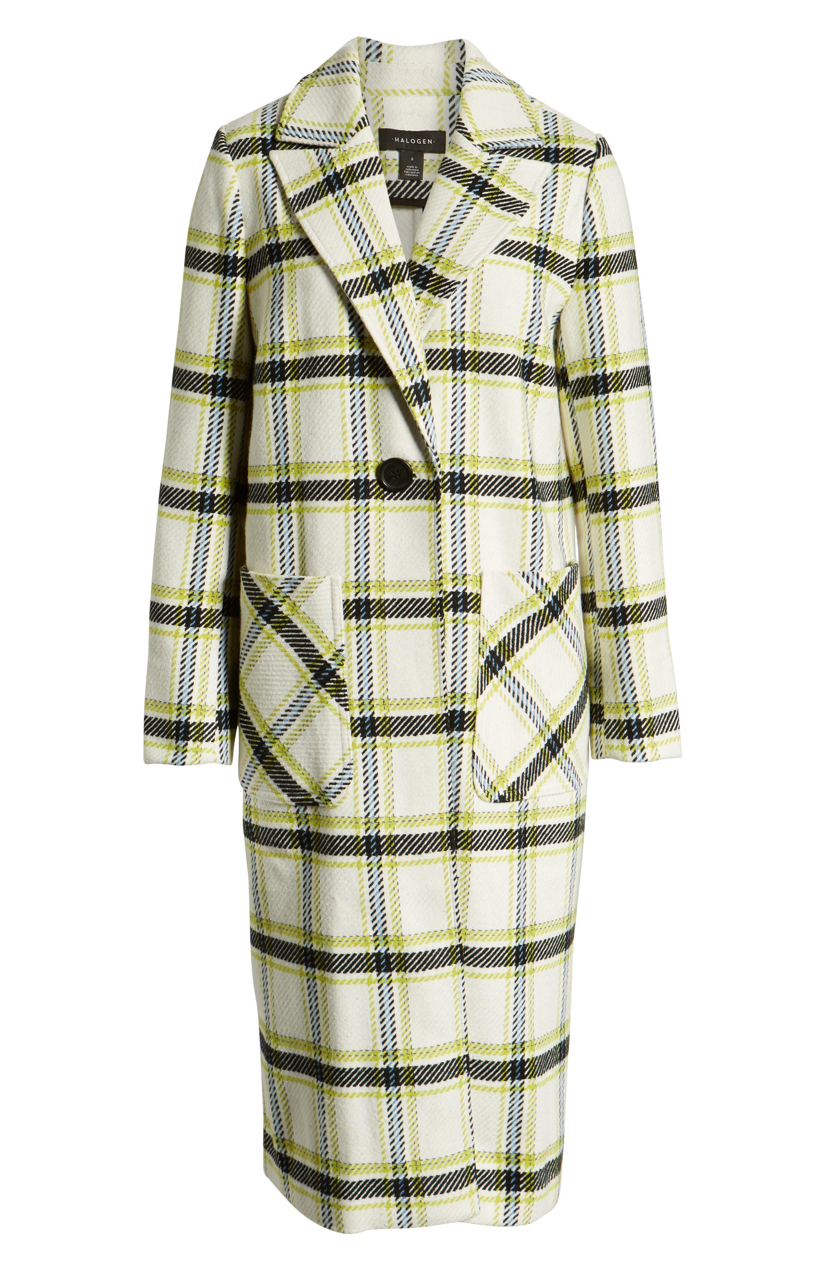 Plaid Coat,                             Alternate thumbnail 6, color,                             IVORY MULTI CHECK