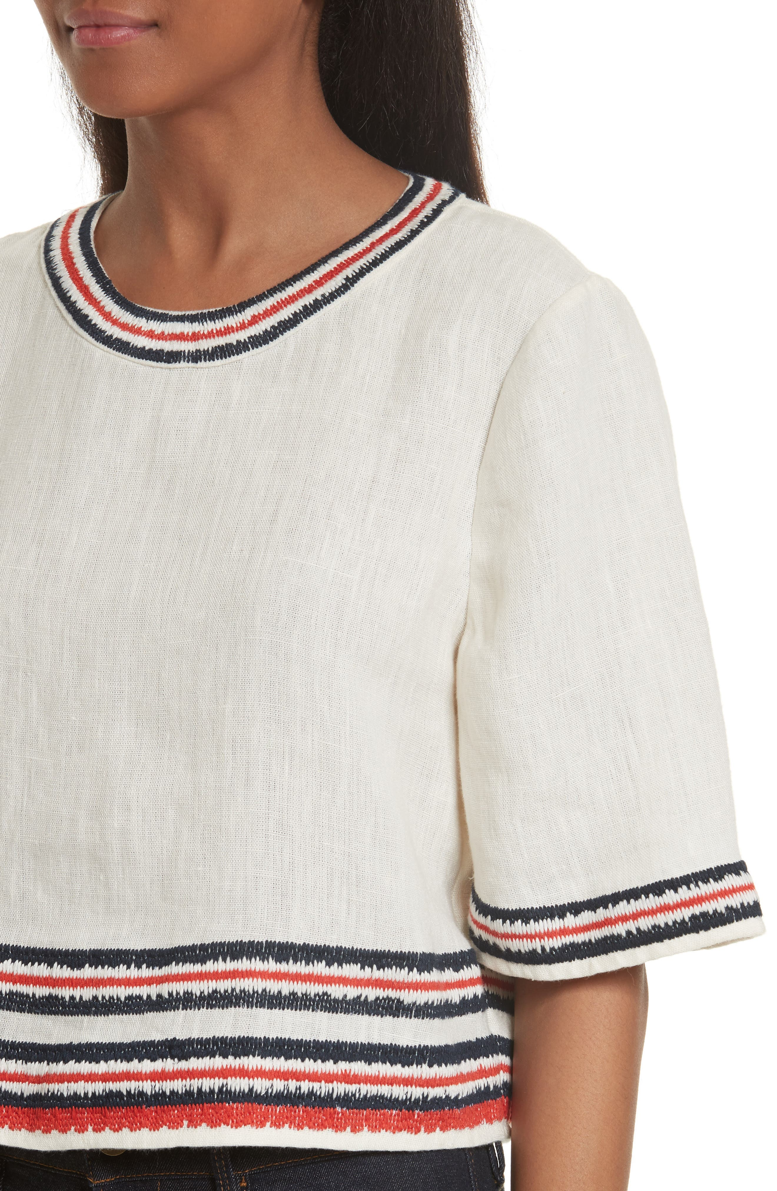 Florentina Embroidered Linen Top,                             Alternate thumbnail 4, color,                             104