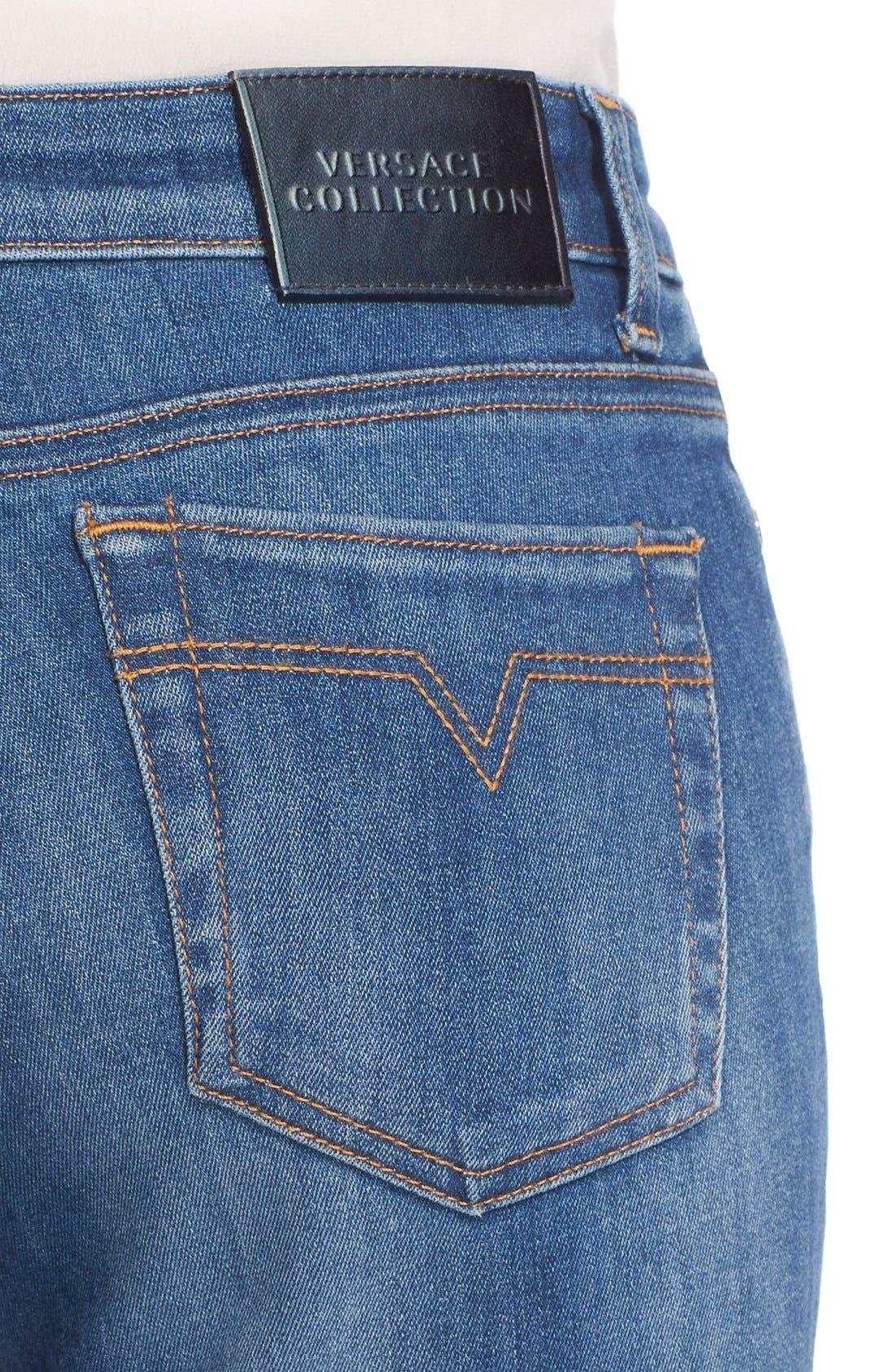 Sparkle Stripe Embellished Skinny Jeans,                             Alternate thumbnail 3, color,                             400