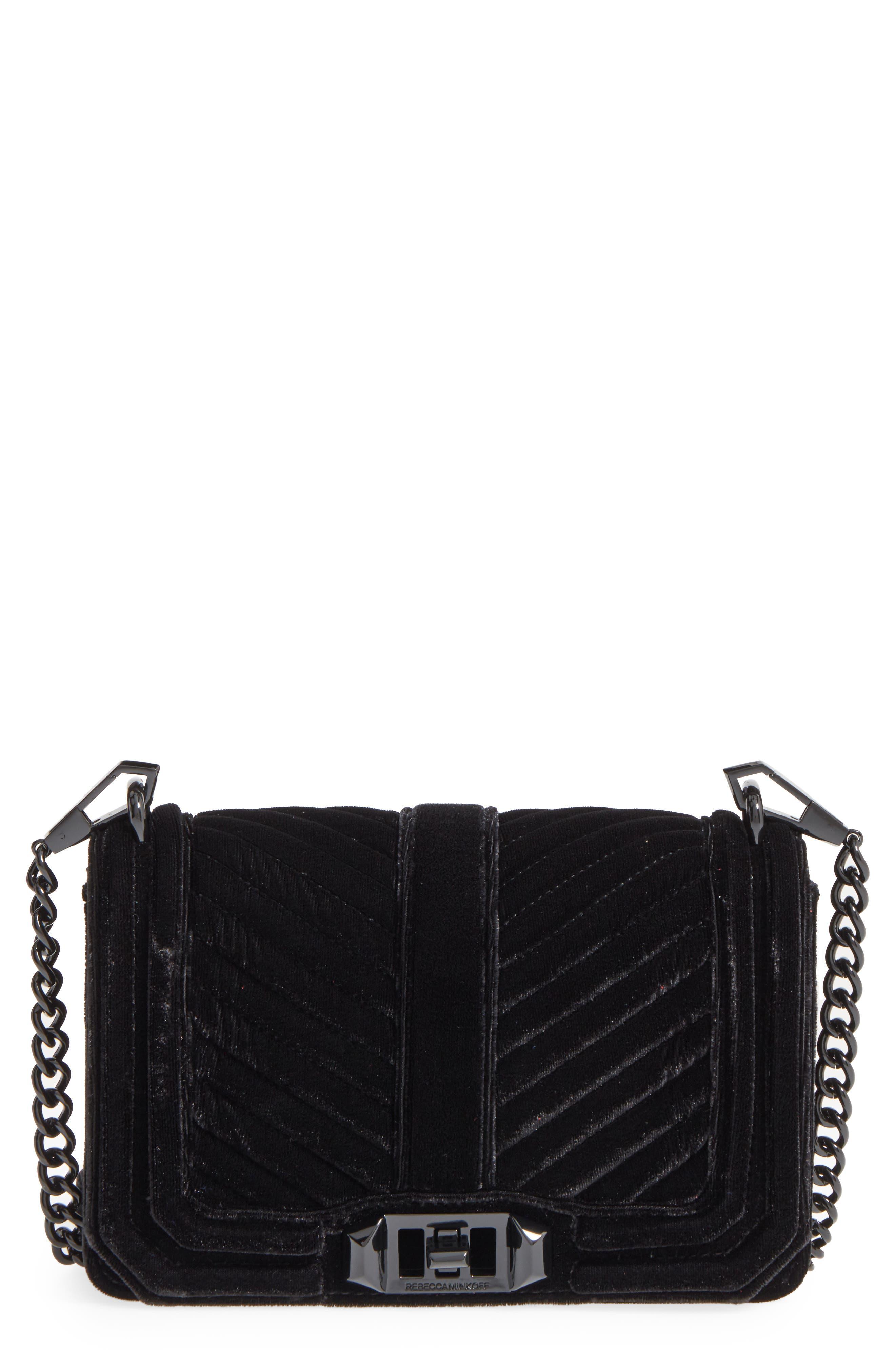 Small Love Quilted Velvet Crossbody Bag,                             Alternate thumbnail 2, color,                             001