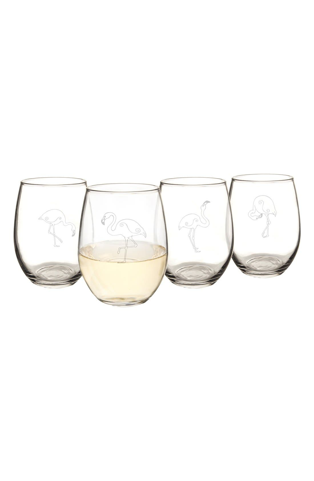Theme Etched Set of 4 Stemless Wine Glasses,                             Alternate thumbnail 3, color,                             FLAMINGO
