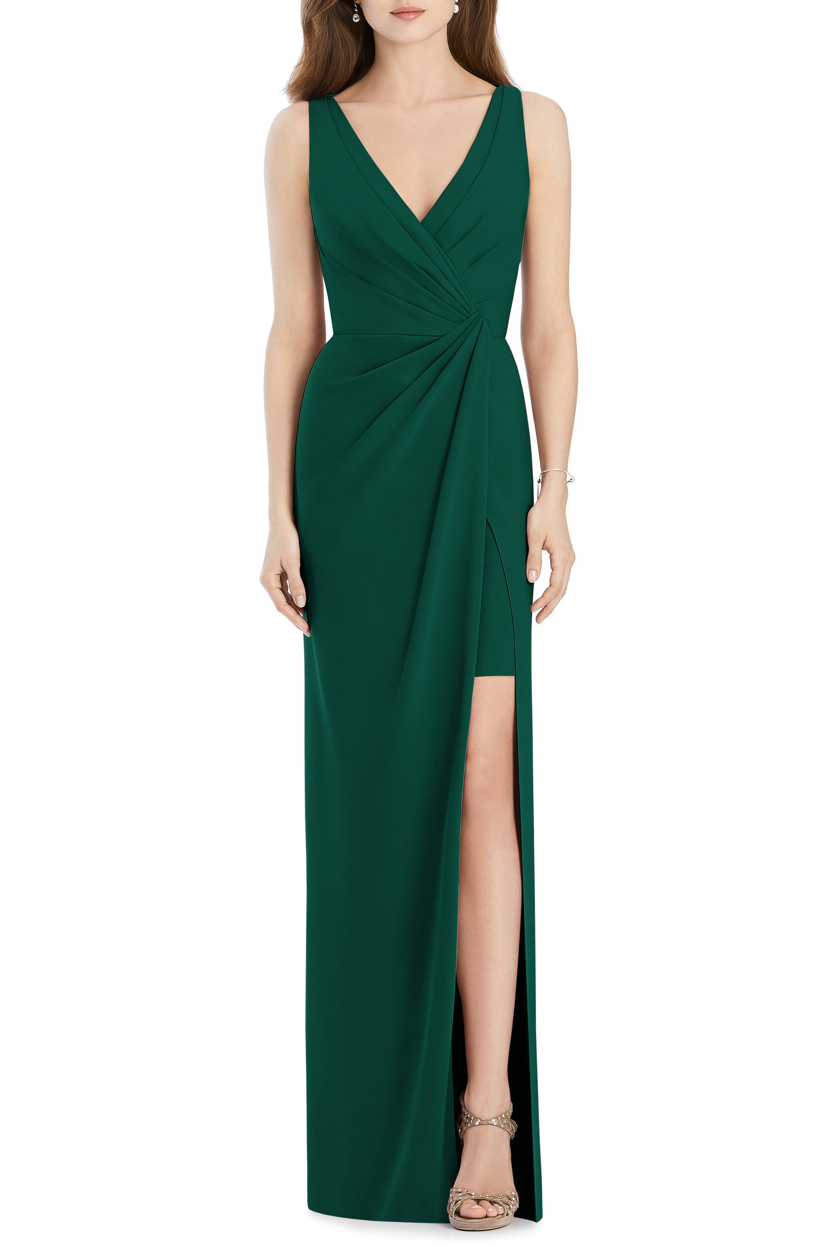 Jenny Packham Crepe Column Gown, Green