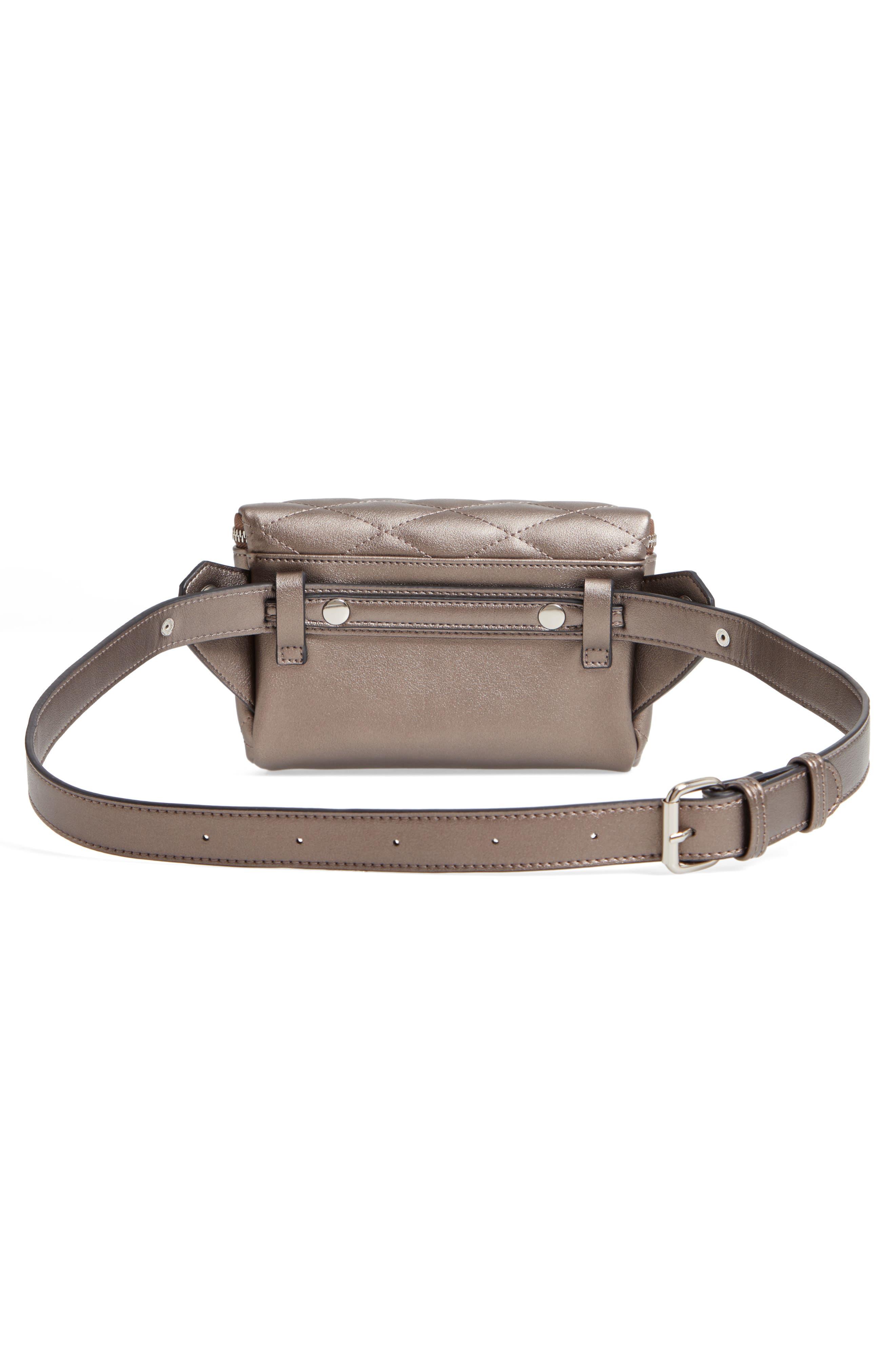 MALI + LILI,                             Faye Vegan Leather Quilted Belt Bag,                             Alternate thumbnail 4, color,                             PEWTER