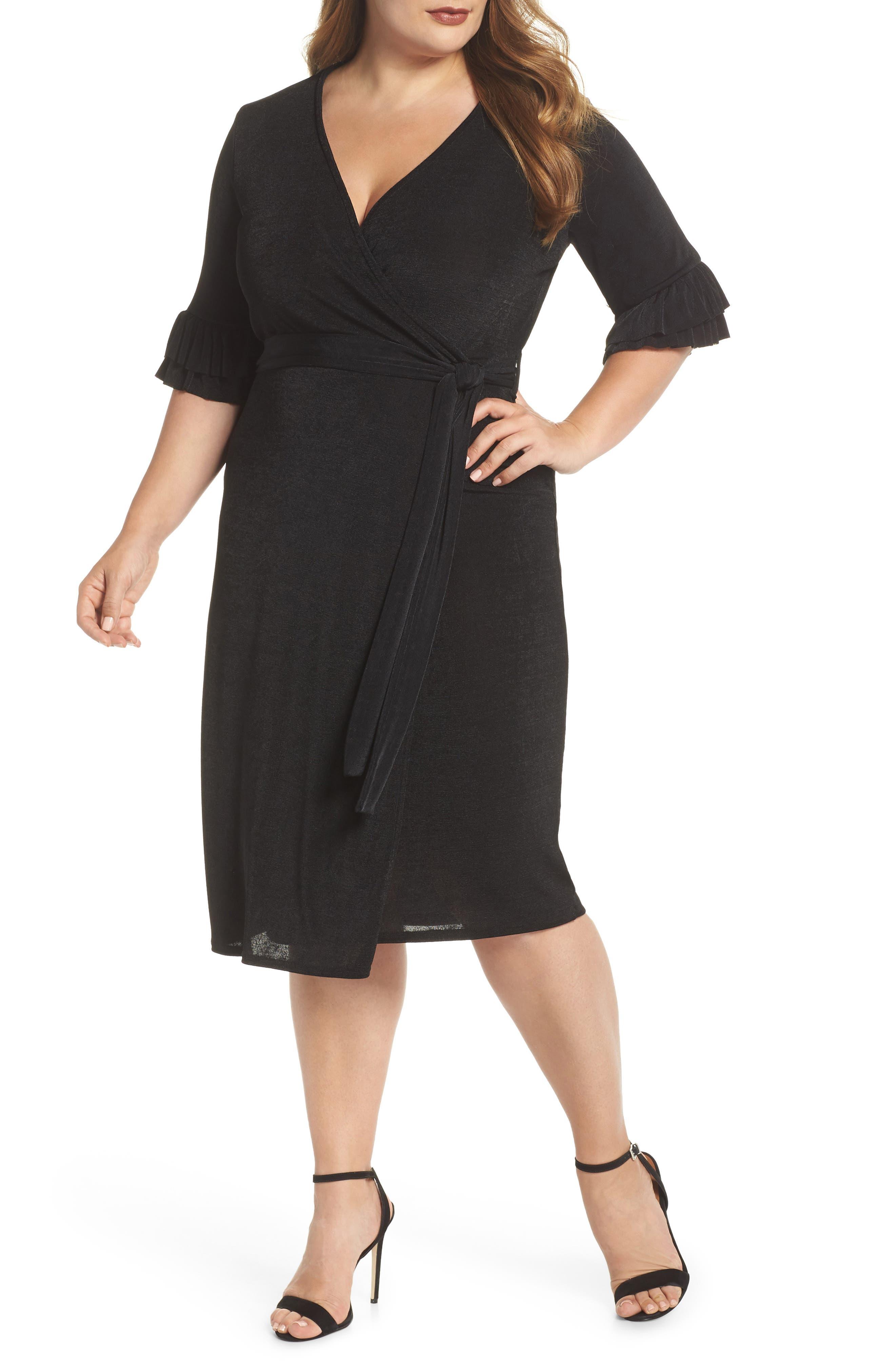 Wrap Dress,                         Main,                         color, BLACK