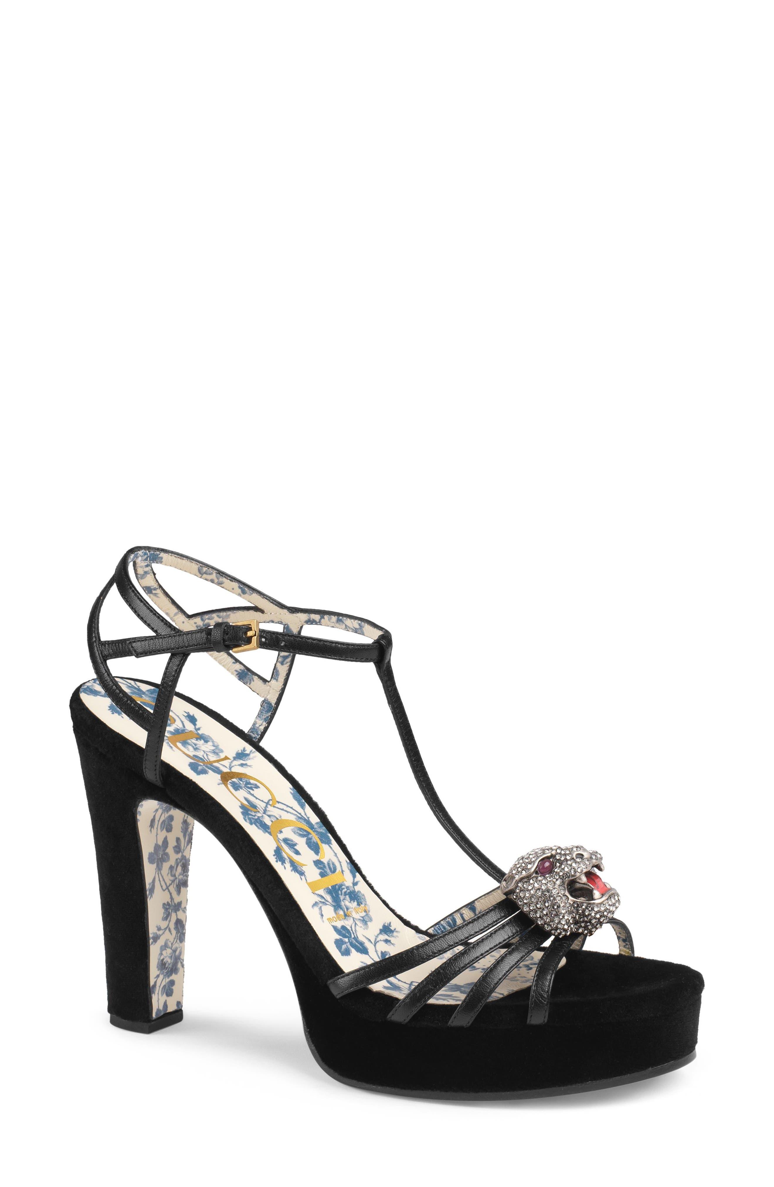 Crystal Tiger T-Strap Sandal,                         Main,                         color, BLACK