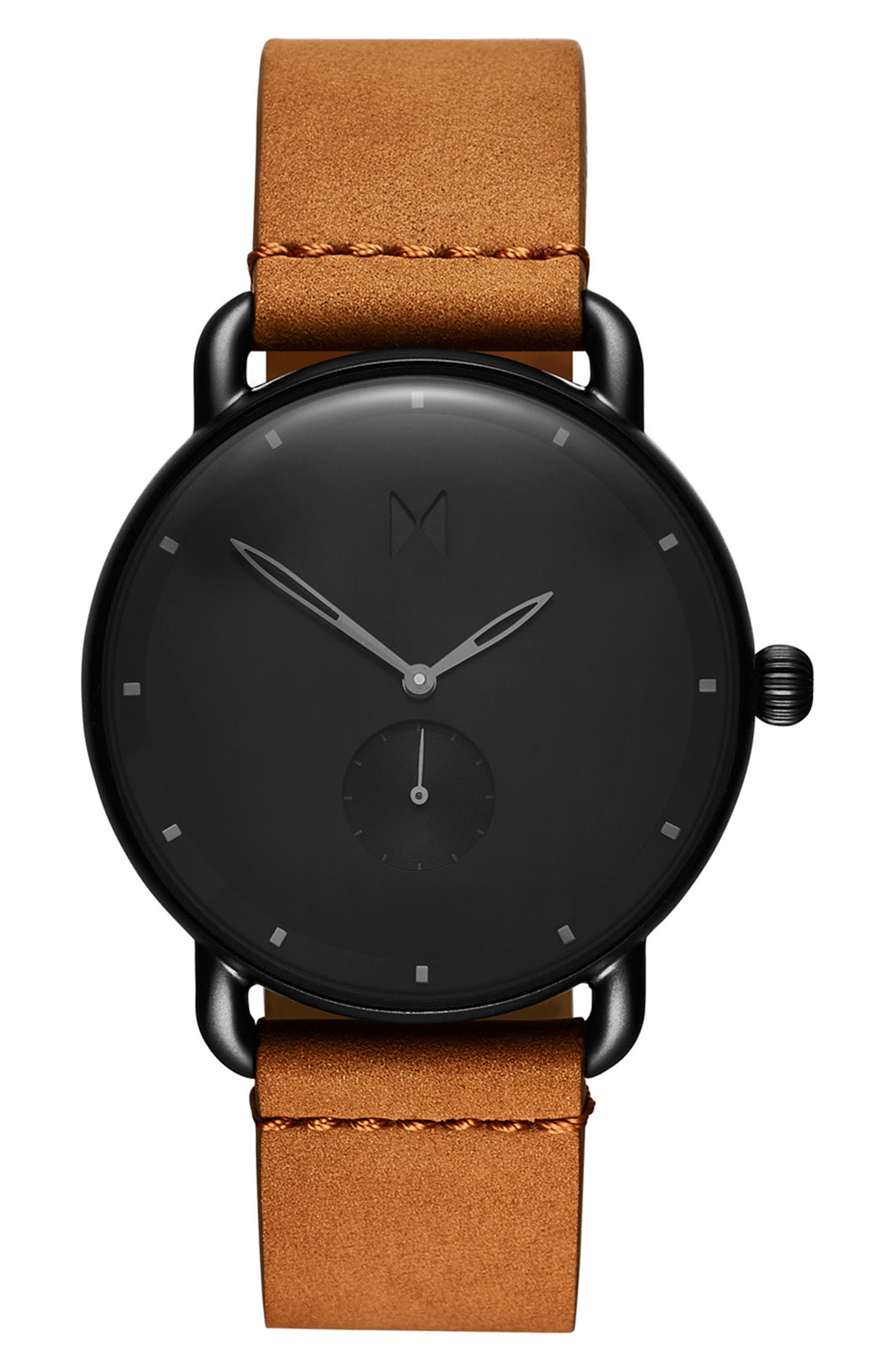 Revolver Wilde Leather Strap Watch, 41mm,                         Main,                         color, BLACK/ SADDLE