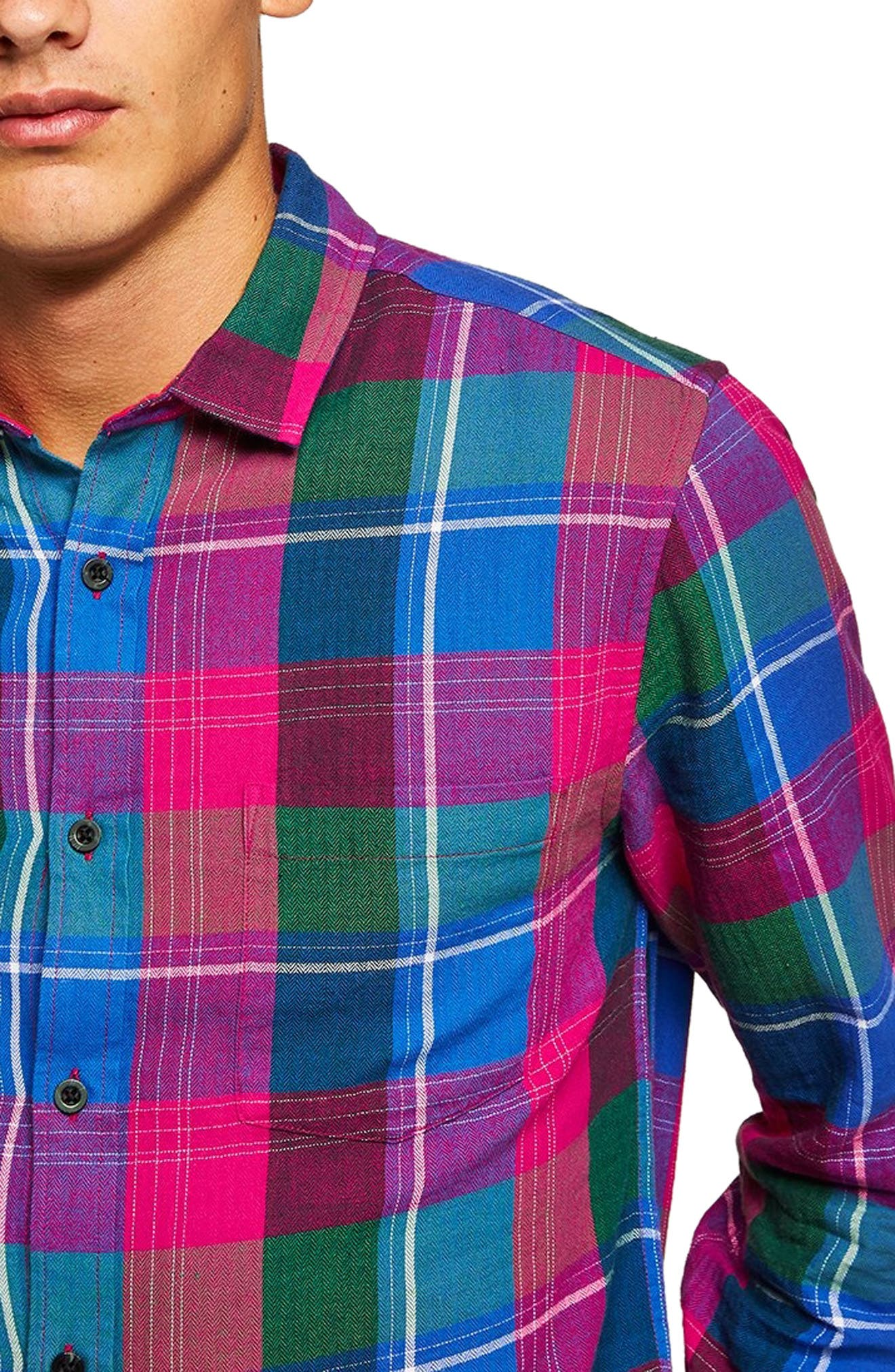 Checked Classic Fit Shirt,                             Alternate thumbnail 2, color,                             PINK MULTI