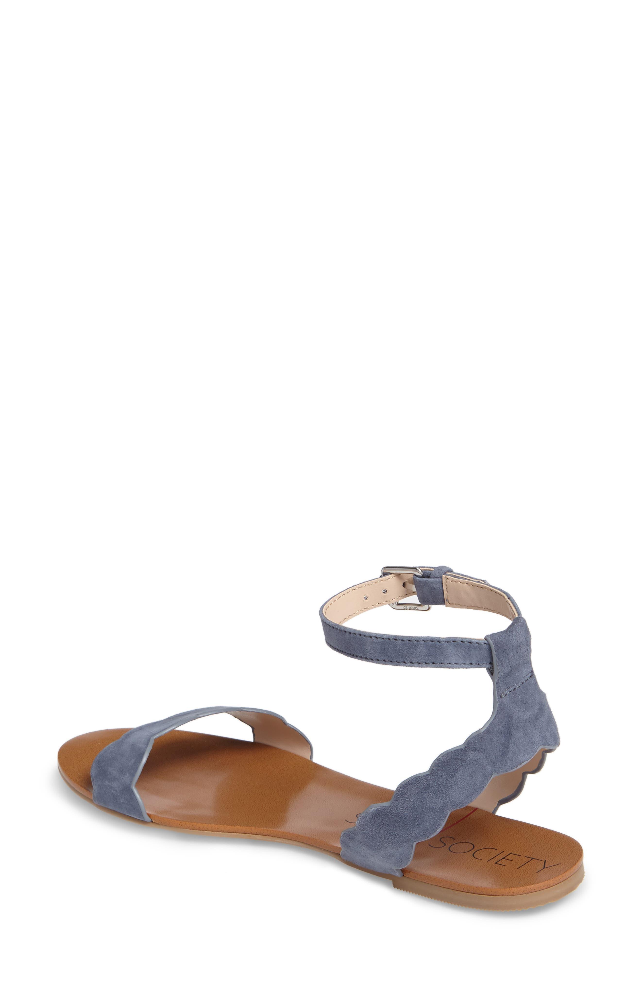 'Odette' Scalloped Ankle Strap Flat Sandal,                             Alternate thumbnail 13, color,