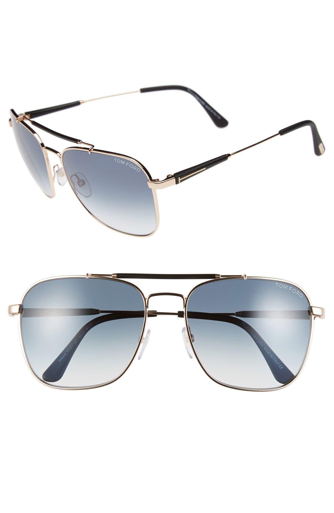 'Edward' 58mm Sunglasses, Main, color, 001